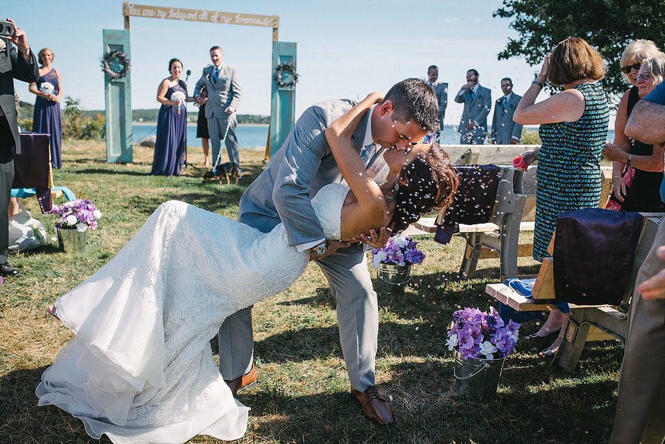 A romantic outdoor wedding on the Fort Point Museum grounds. Photography by Callen Singer Photography.