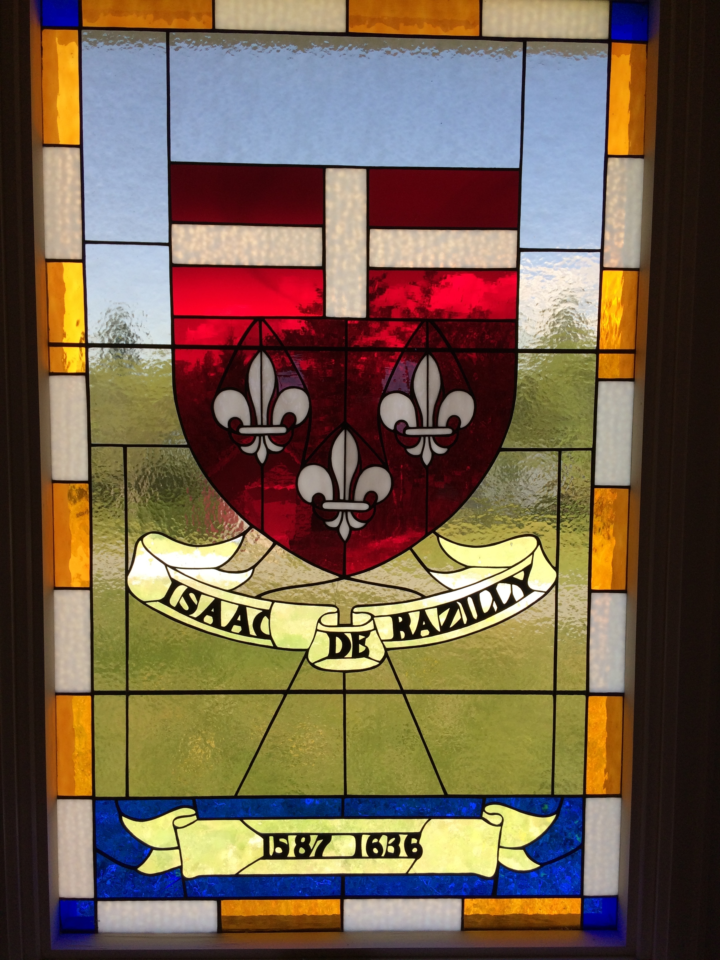 Sir Isaac de Razilly's family coat of arms done in stain glass is a stunning piece of art at the museum. Razilly landed here in 1632. Intent on establishing a permanent settlement in LaHave, Fort Saint Marie de Grace was named the first capital of New France and was a well established fort with as many as 40 canons and 100 settlers, before Razilly's untimely death.