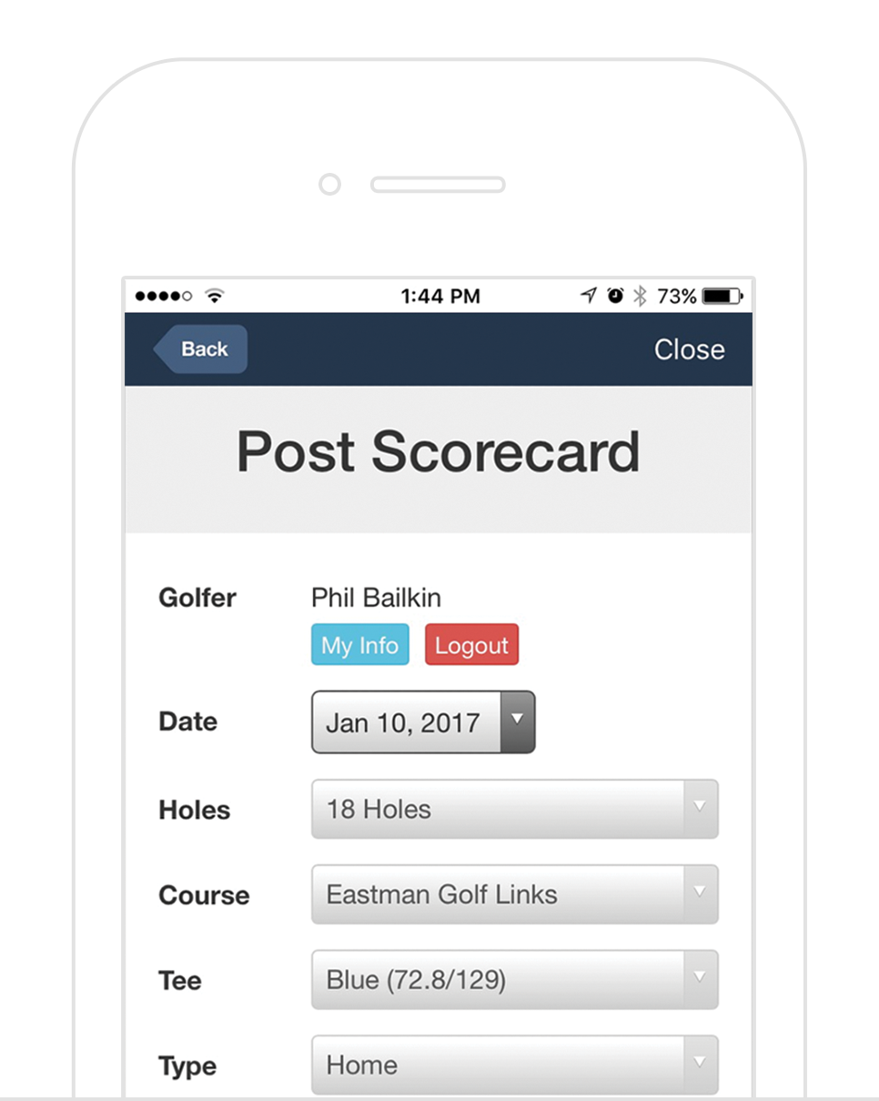 Score Posting - Golfers can post their score to their handicap account with a tap of a button at the end of their round. Plus access recent scores and their current index through the app.