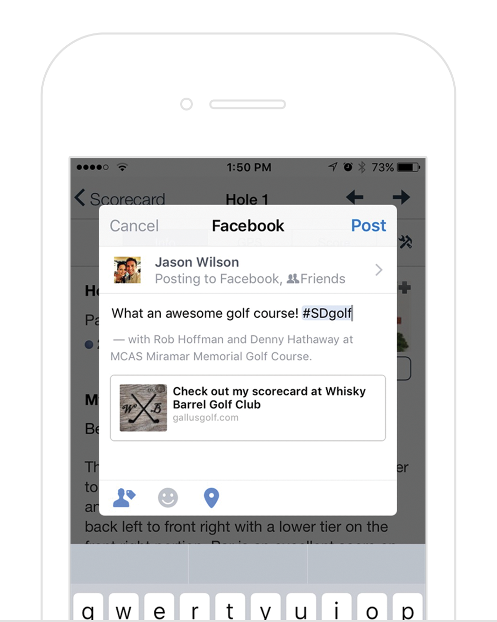 Social Sharing -  One-tap share feature that makes it fun and easy for golfers to post to Facebook, Twitter, Email, and more during or after their round. Your golfers recommending your golf course to all of their friends with a tap of button!