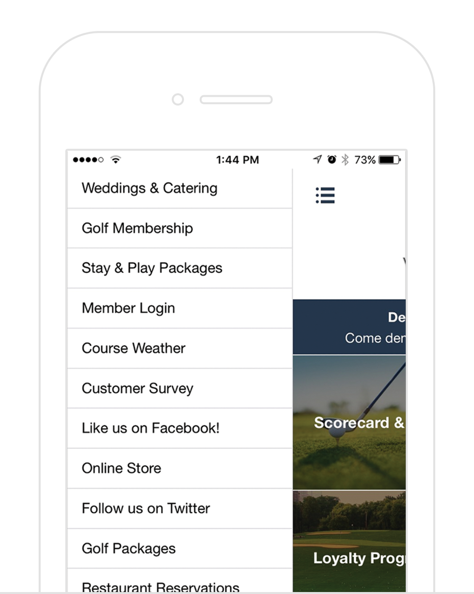 Custom Buttons - Create custom buttons linking your social media, course weather, calendar, or whatever you want! Add or change your buttons on the fly to promote what's important at your club.