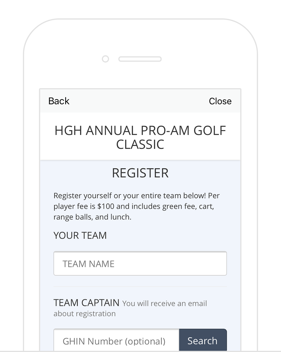 Online Registration - Quickly create a custom marketing and registration site for each outing that can include tournament info, images, video, contact info, and more. Participants can register (and even prepay) which all flows into your tournament software, ready to go.