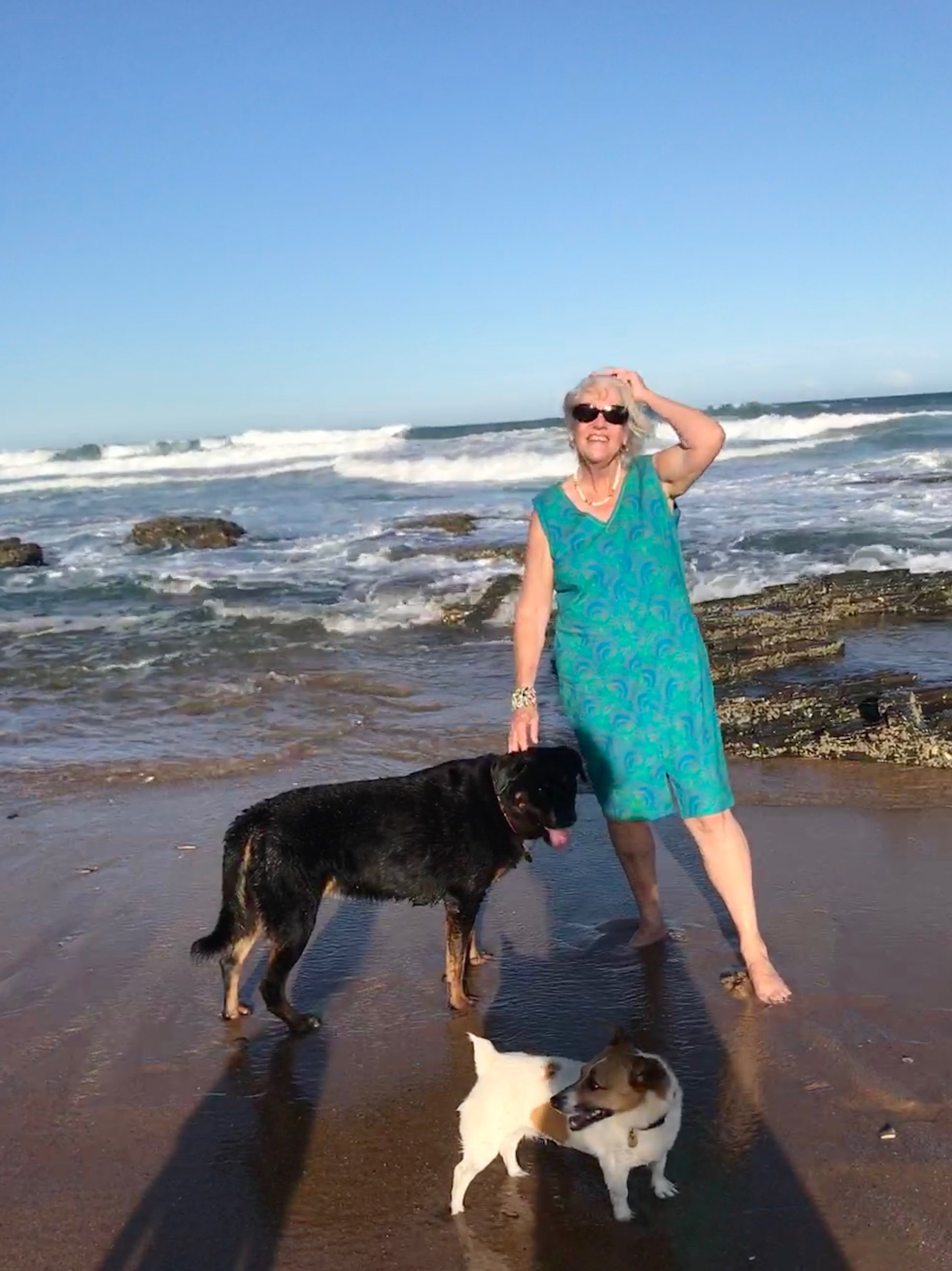 With the dogs at the cottage at Clansthal in Kwa Zulu Natal