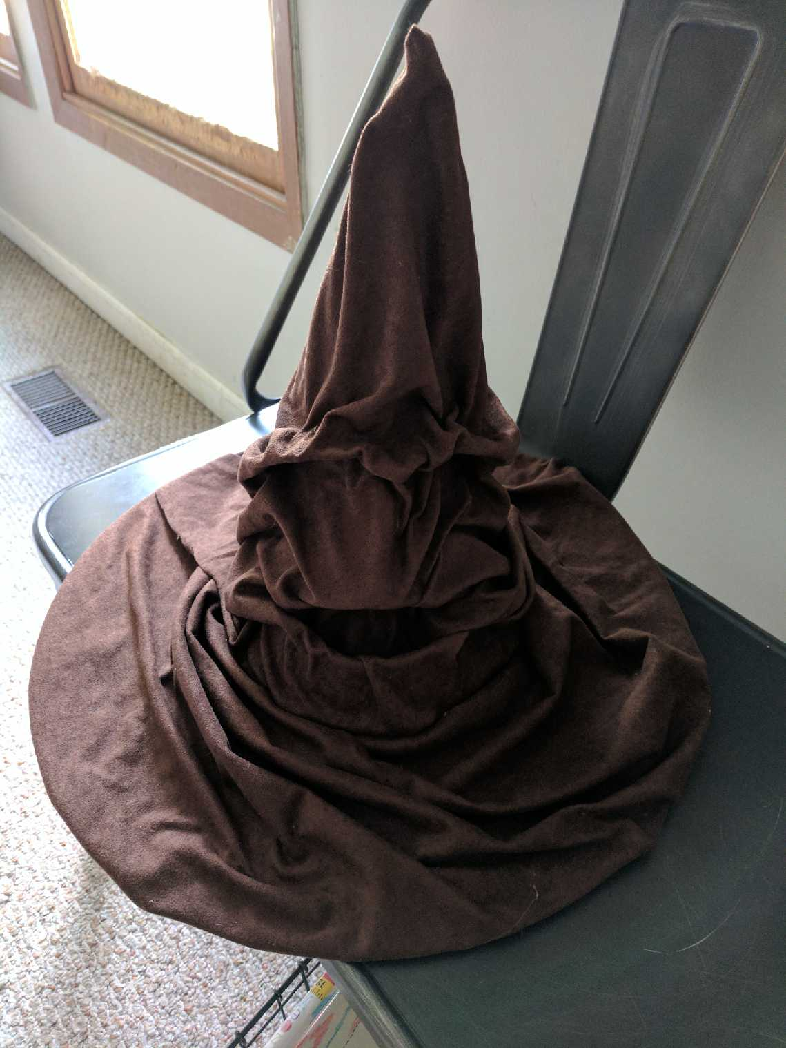 Guests donned this hand-made Sorting Hat to find out which house they belonged to.