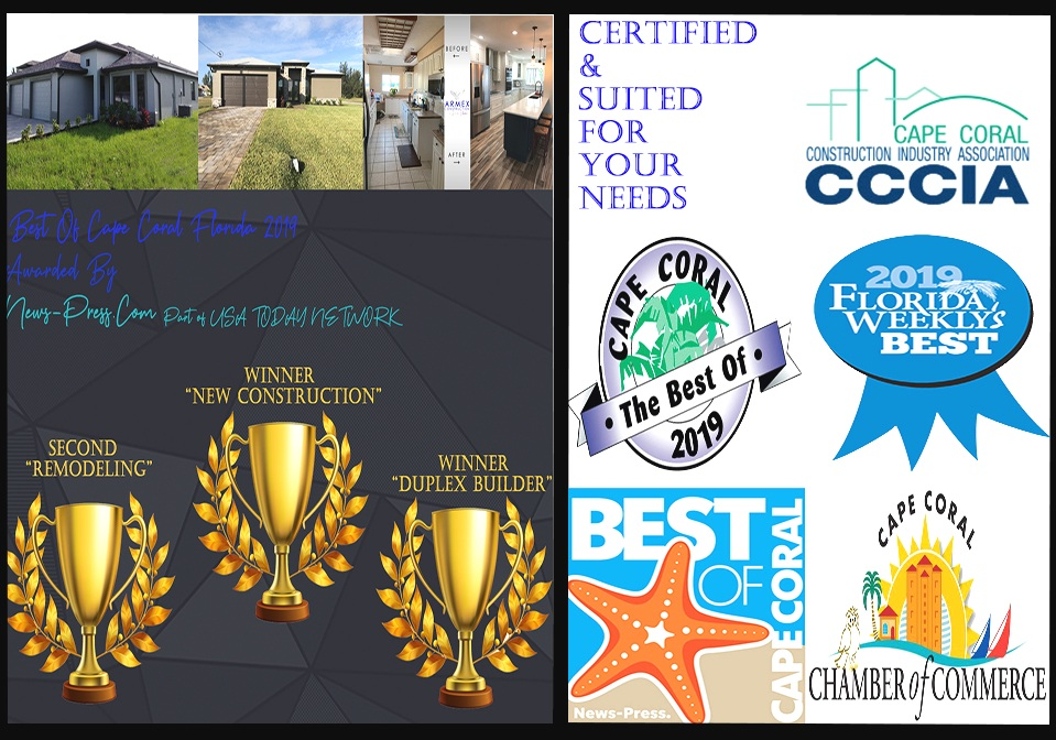 We have been awarded multiple times proving our excellency in the construction industry. Our team strive to be the most productive and efficient in the construction industry. Armex was awarded 1st for building Duplexes and New Houses. Our remodeling came second this year, but our designers and team are working exponentially to reach 1st. Our awards show that Armex is your #1 company to turn too when it comes to your construction needs.