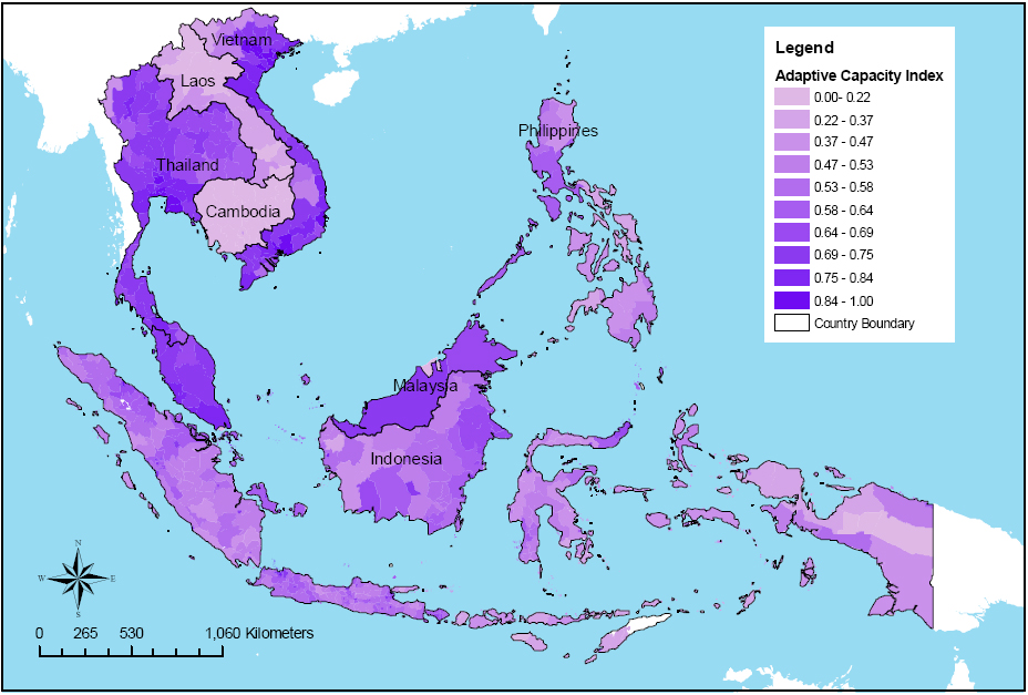 Adaptive capacity in South East Asia. Source:http://www.preventionweb.net/files/7874_asiaadaptivecapacityinde.jpg