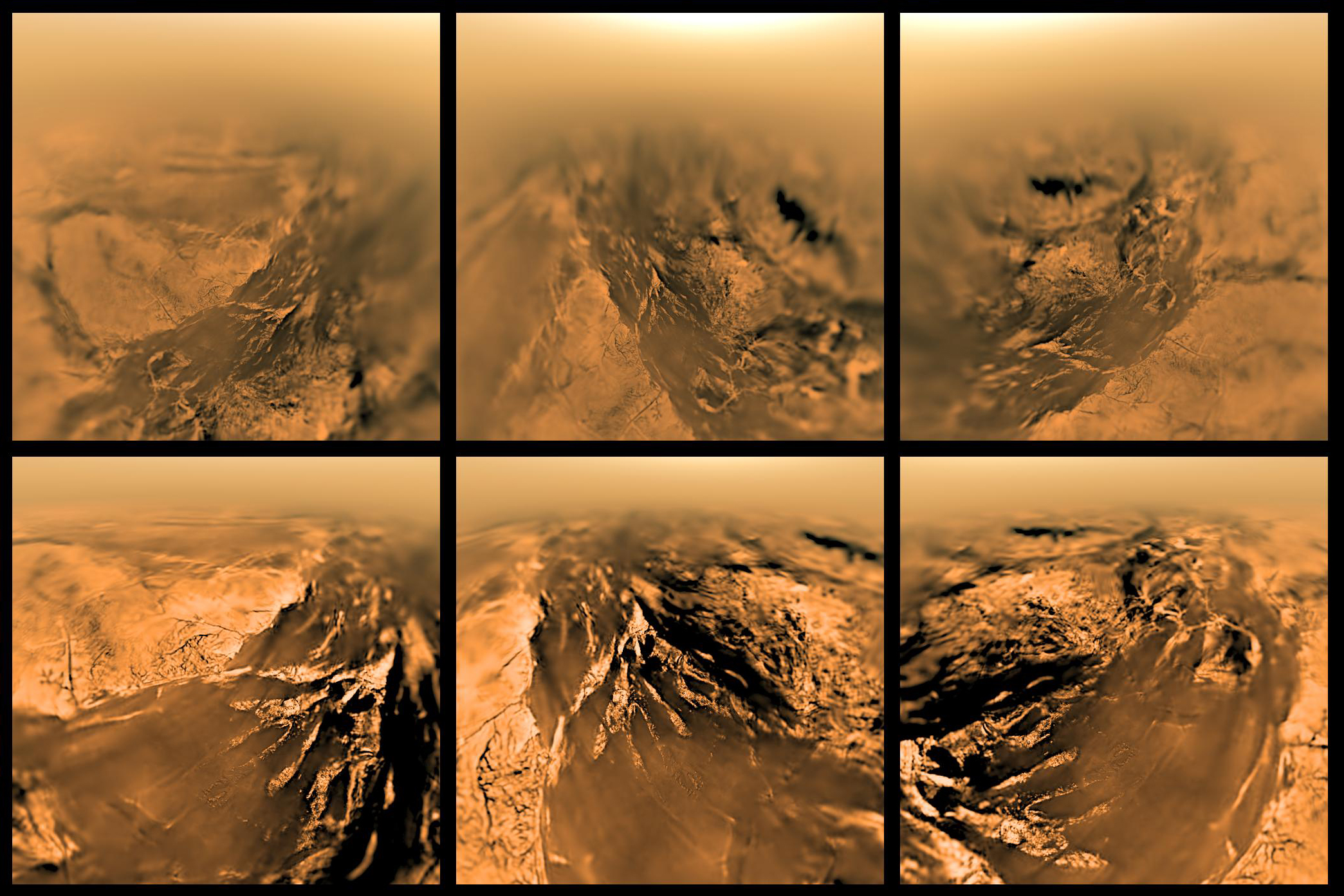 Extract from ESA/NASA/JPL/University of Arizona  Arial Views of Titan Around the Huygens Landing Site  (2015).Source: http://sci.esa.int/science-e-media/img/2b/Titan-DISR-5altitudes-composite.jpe