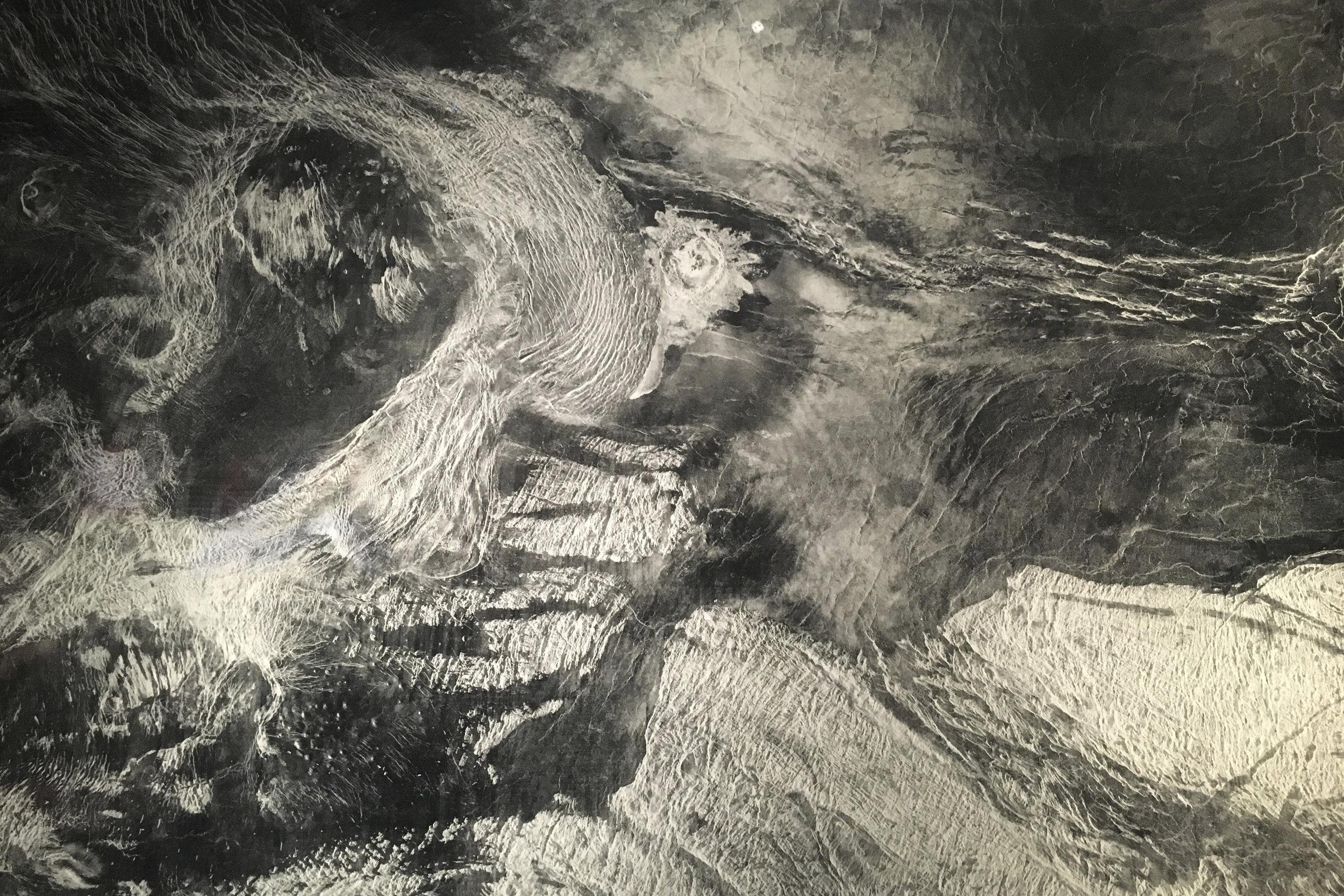 Michael Benson  Radar image, Magellan, Sept. 15, 1990 – Sept. 14, 1992 ( 2003). Photo: Stephen Bennett, taken at  Otherworlds  Exhibition, Natural History Museum, 2016. Artist's original works available here:http://michael-benson.net/author/michael/