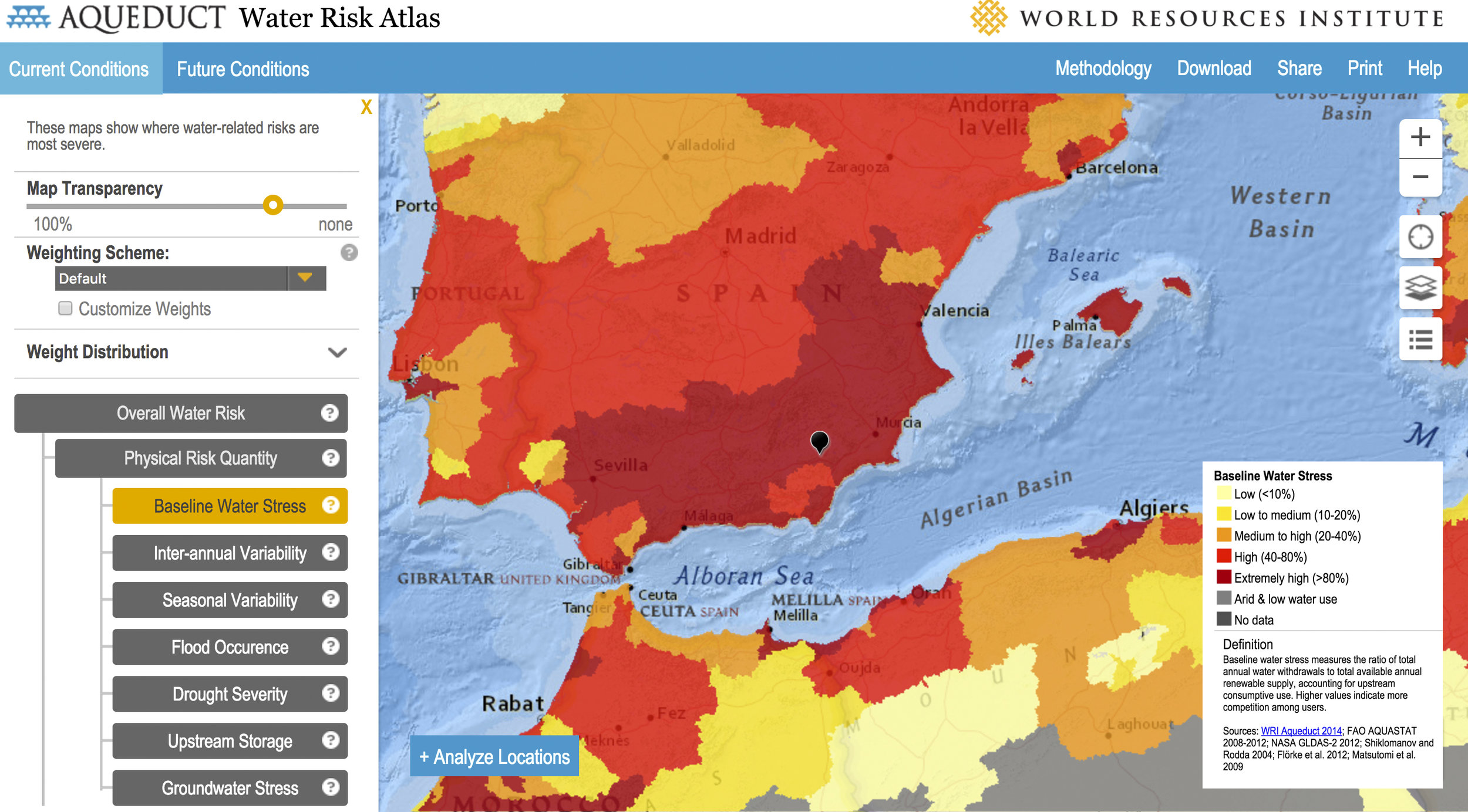 Baseline water stress measure of Spain and parts of north-west Africa. Location of Joya is shown by black marker.  Source: Aqueduct Water Risk Atlas , World Resources Institute .