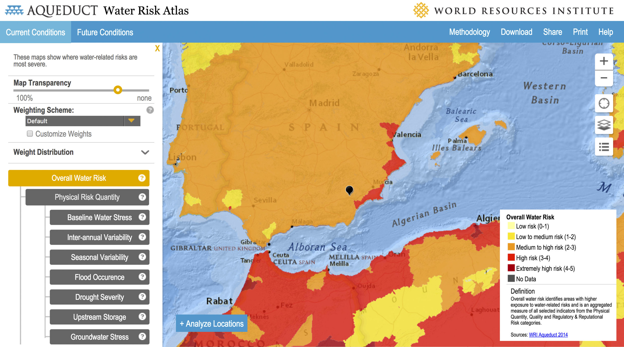 Overall water risk measure of Spain and parts of north-west Africa. Location of Joya is shown by black marker.  Source: Aqueduct Water Risk Atlas , World Resources Institute .
