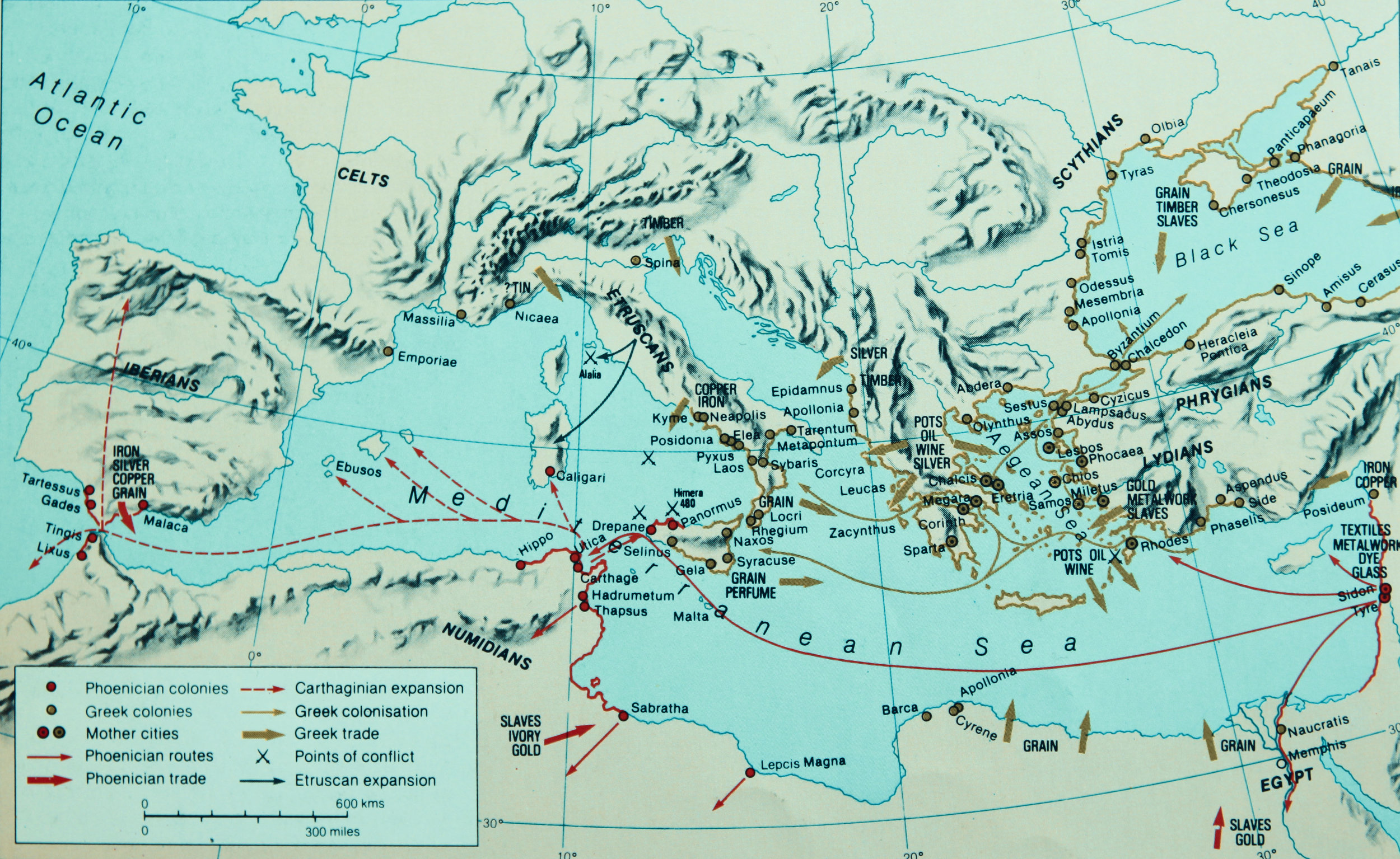 Phoenicians and the Greeks. Source: R.I. Moore (1981) Hamlyn Historical Atlas.
