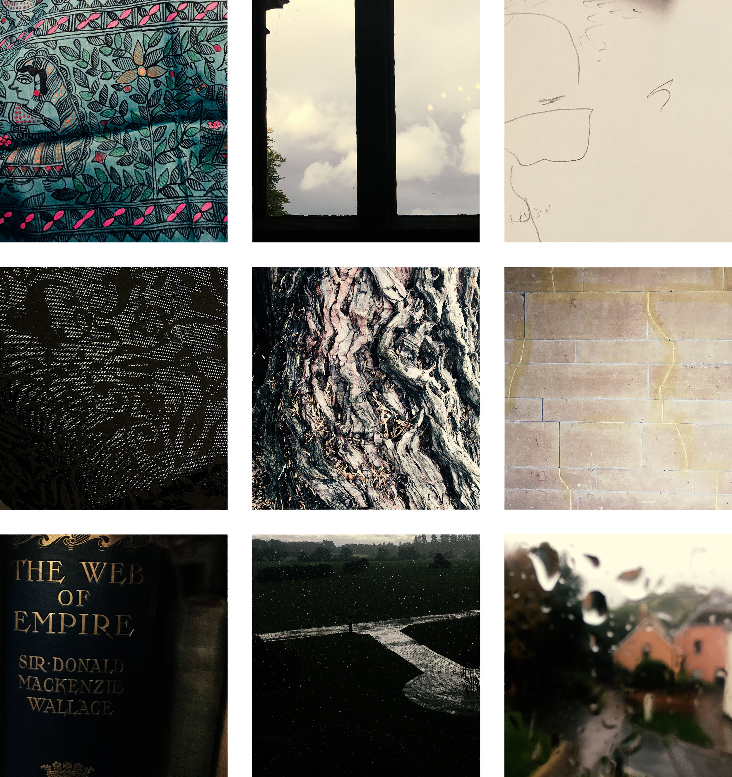 Images: Textile artwork from MITHILAsmita, displayed and described by      Ihitashri Shandilya      (top left); View out of window of Eynsham Hall, Oxfordshire (top centre); Unsighted drawing of      Eduardo Carvalho      of Brazil's      Museum of Tomorrow      (top right); Pattern, Eynsham Hall (centre left); Redwood, Eynsham Hall (centre); Wall, Eynsham Hall (centre right); The Web of Empire, Sir Donald Mackenzie Wallace (1902) (lower left); View of rain, Eynsham Hall (lower centre); View of rain, Eynsham Hall (lower right)
