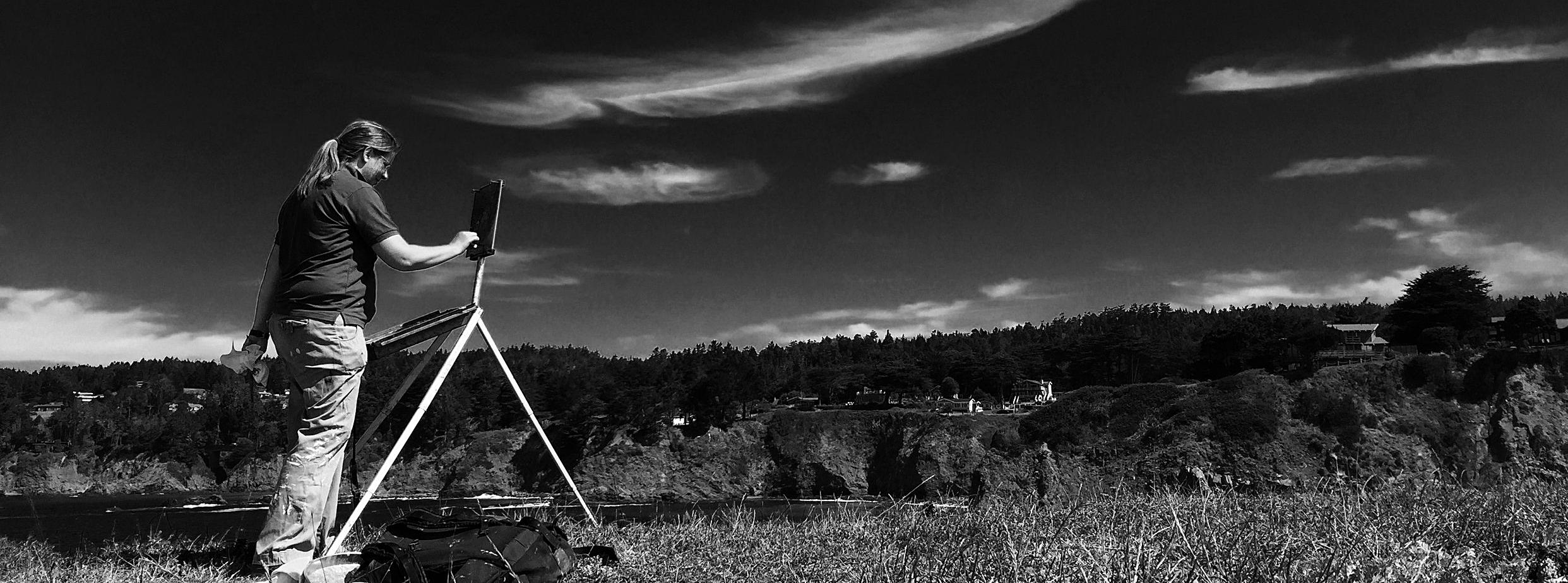 Plein air in Mendocino, photo by Aimee Eriksen.