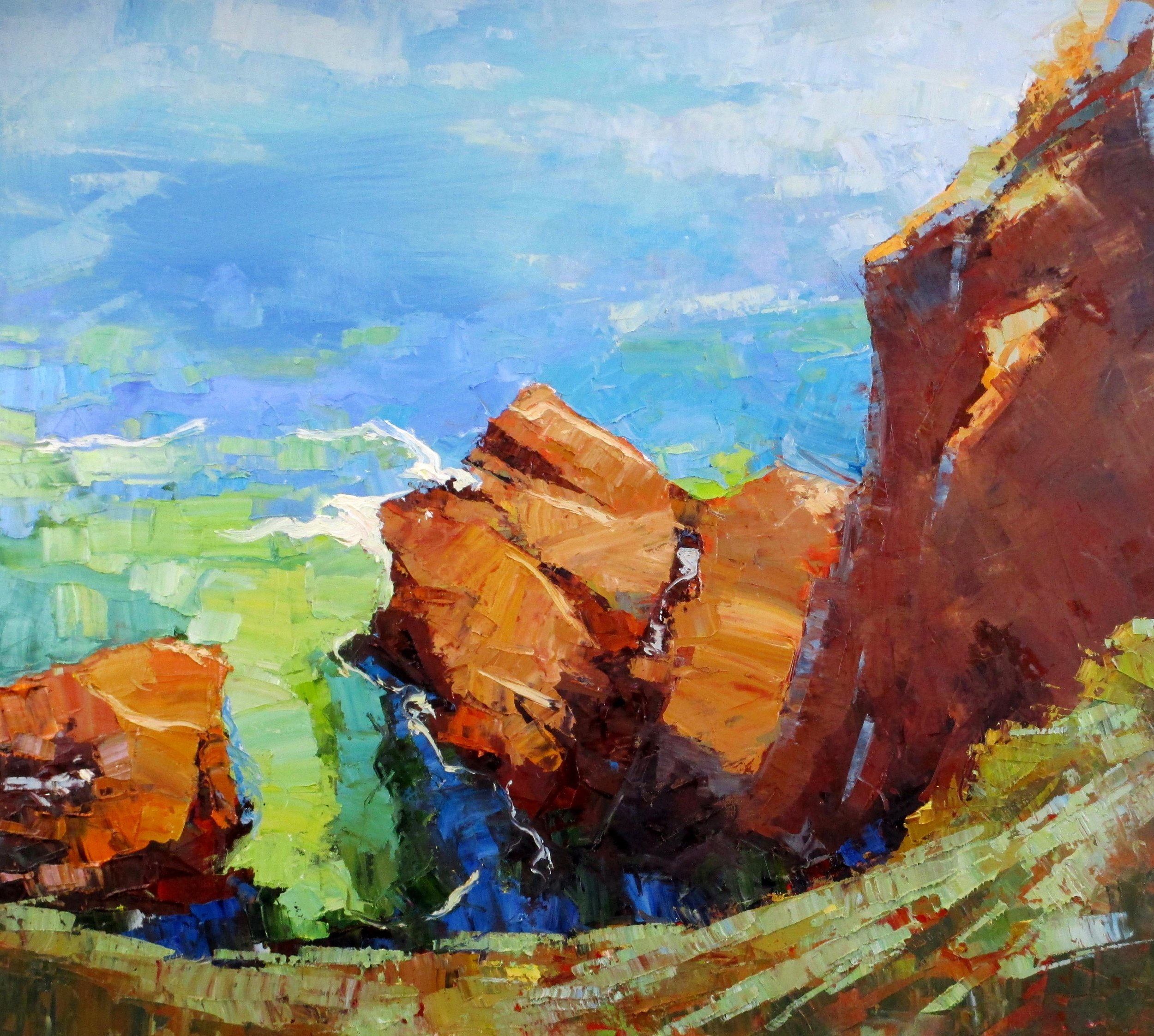 Mendocino Colors, 30 x 40 inches, oil.