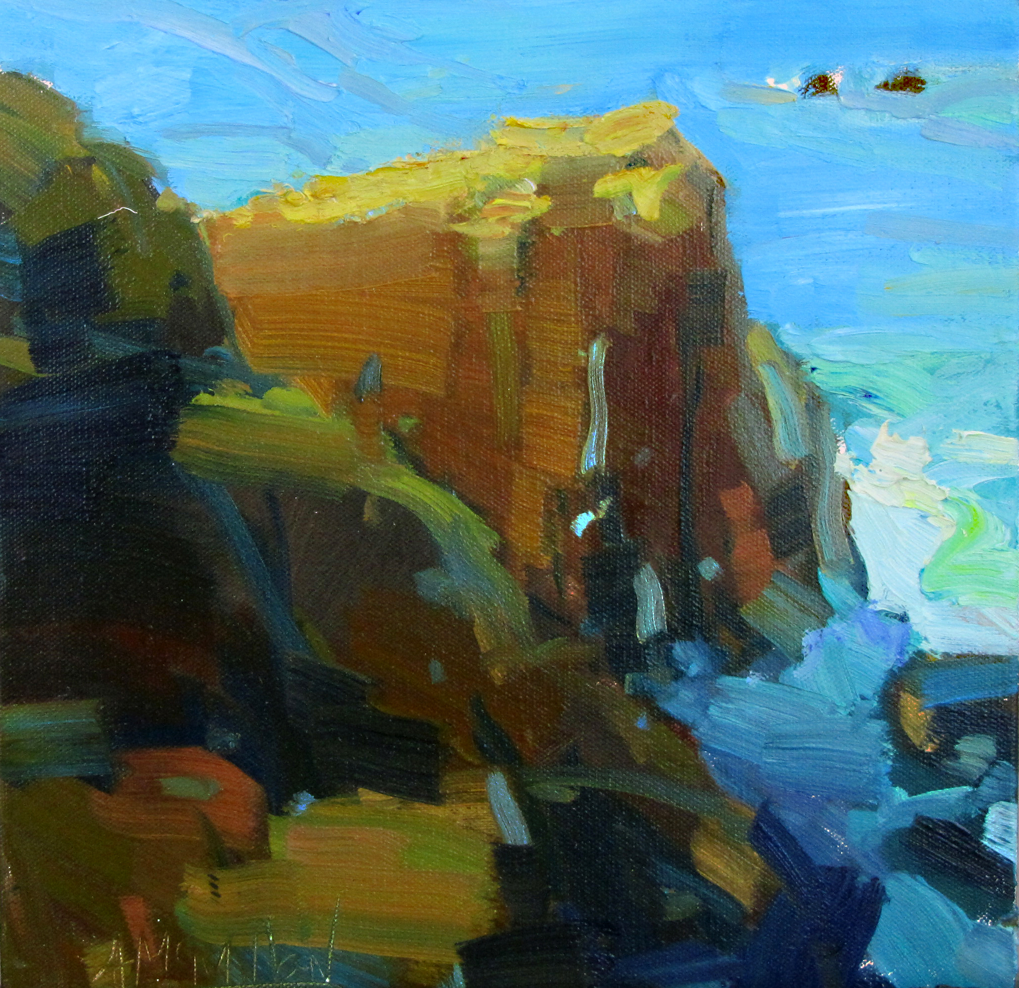 Rocky Point Morning, 12 x 12 inches, oil.