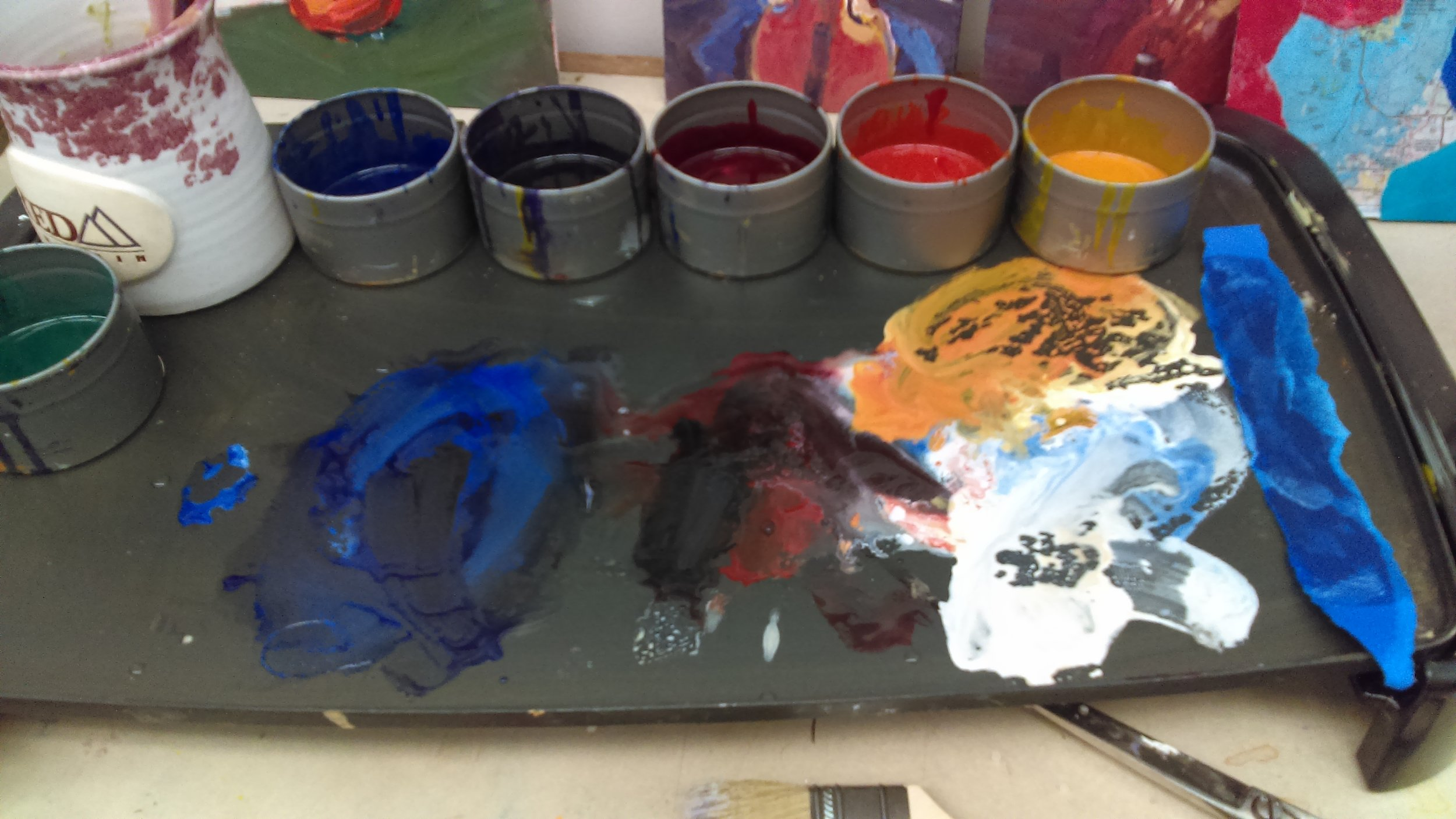 Encaustic color mixing on the the palette griddle.