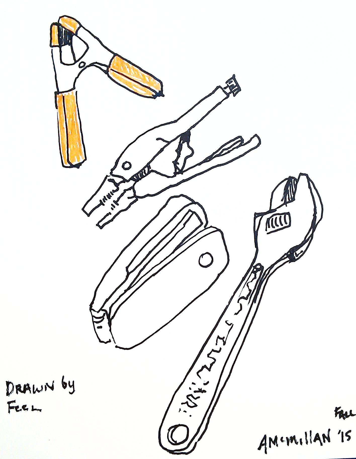 Tools drawn by feel rather than sight.