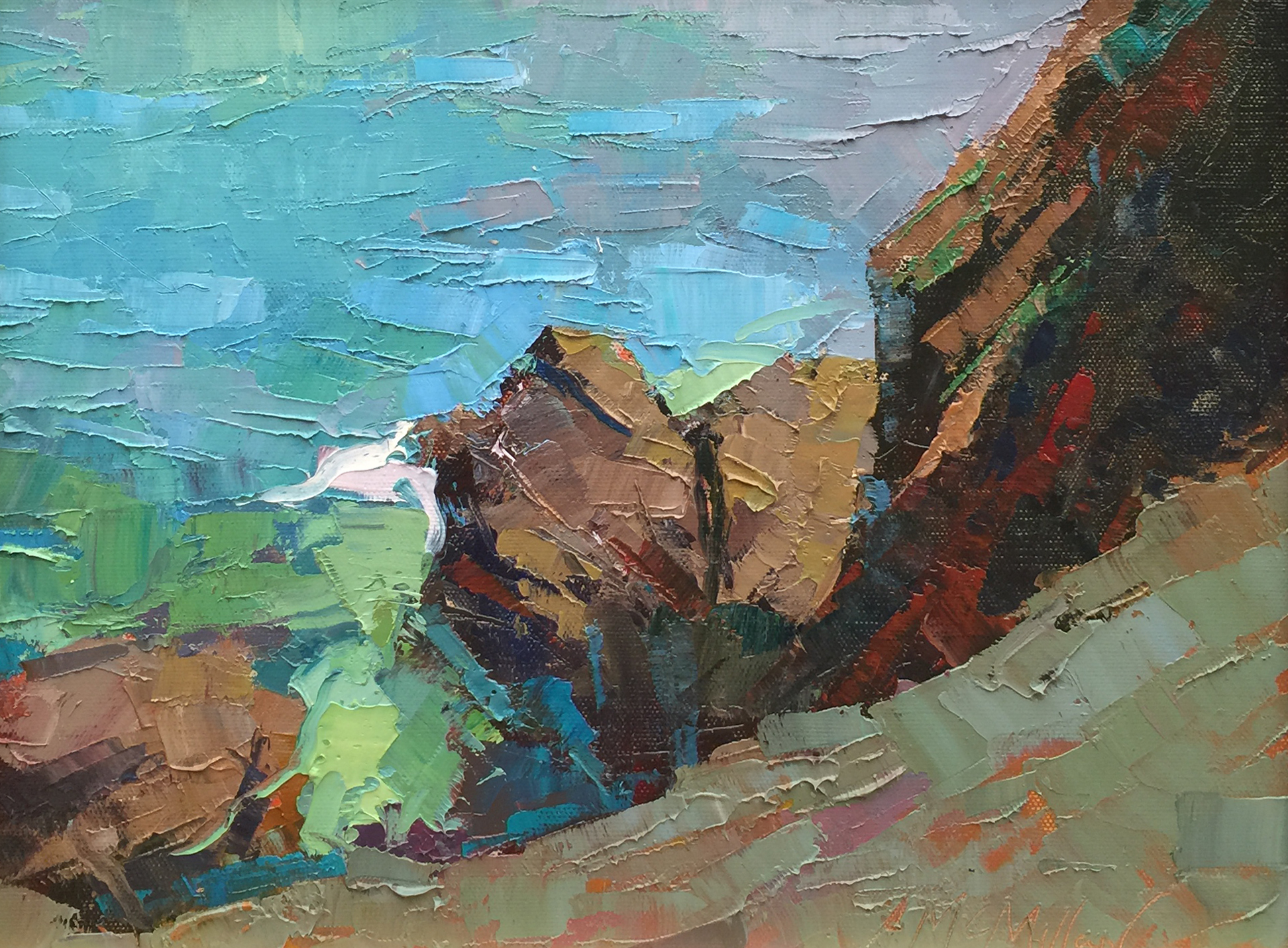 McMillan Mendocino Water Colors 11 c 14 inches oil 2015 no frame.jpg