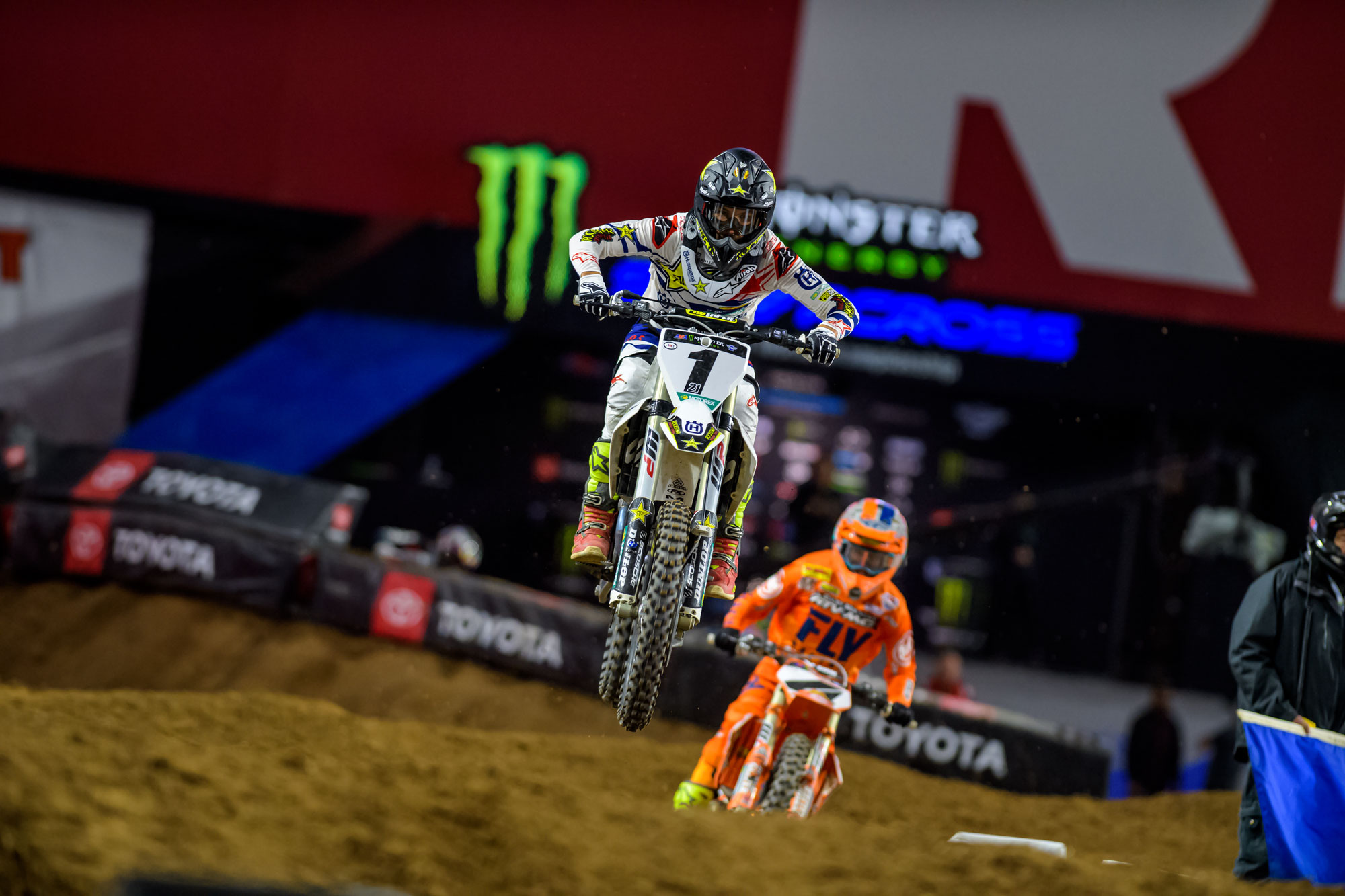 Rockstar Husqvarna's Jason Anderson battled up front and finished 2nd in the deserst