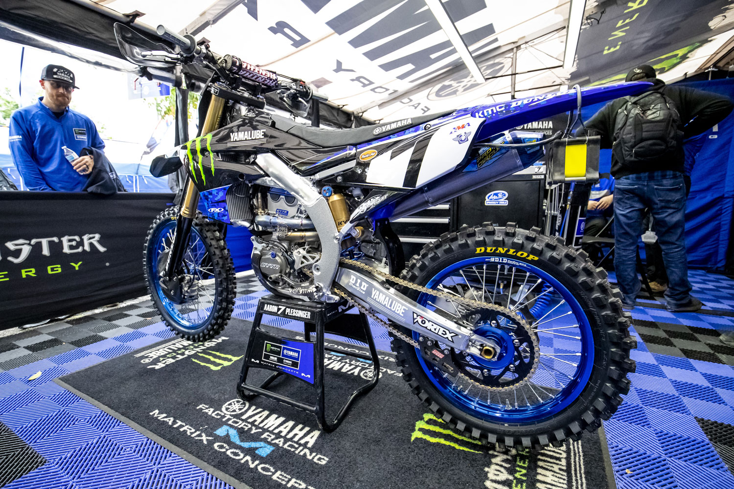 Yamaha Racing's bikes featured a camo theme for military appreciation