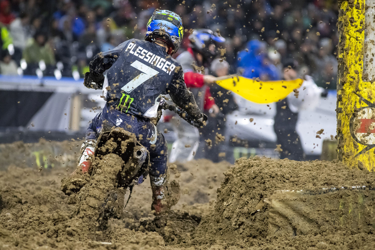 Plessinger battled in his heat race with Tomac eventually taking second.  He finished 6th in the muddy main.