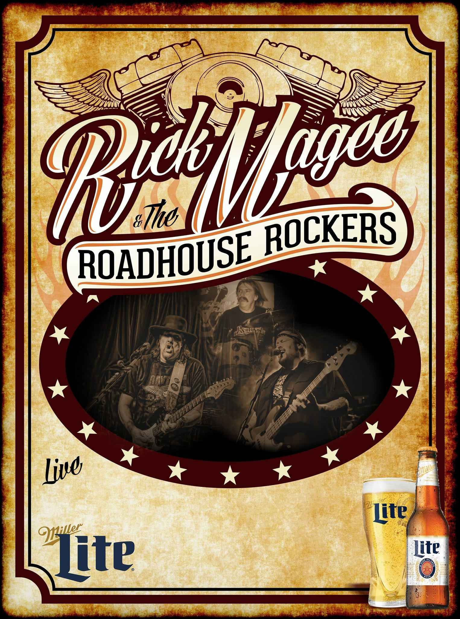 For over a decade the Roadhouse Rockers have been touring the US at many Bike Rallies, Rib Fests, Concerts and clubs.  They have 5 Cd's that have sold though out the US and over seas.  Rick was also a top finalist in the Jimi Hendrix guitar competition.   For more info check out:   www.roadhouserockers.com