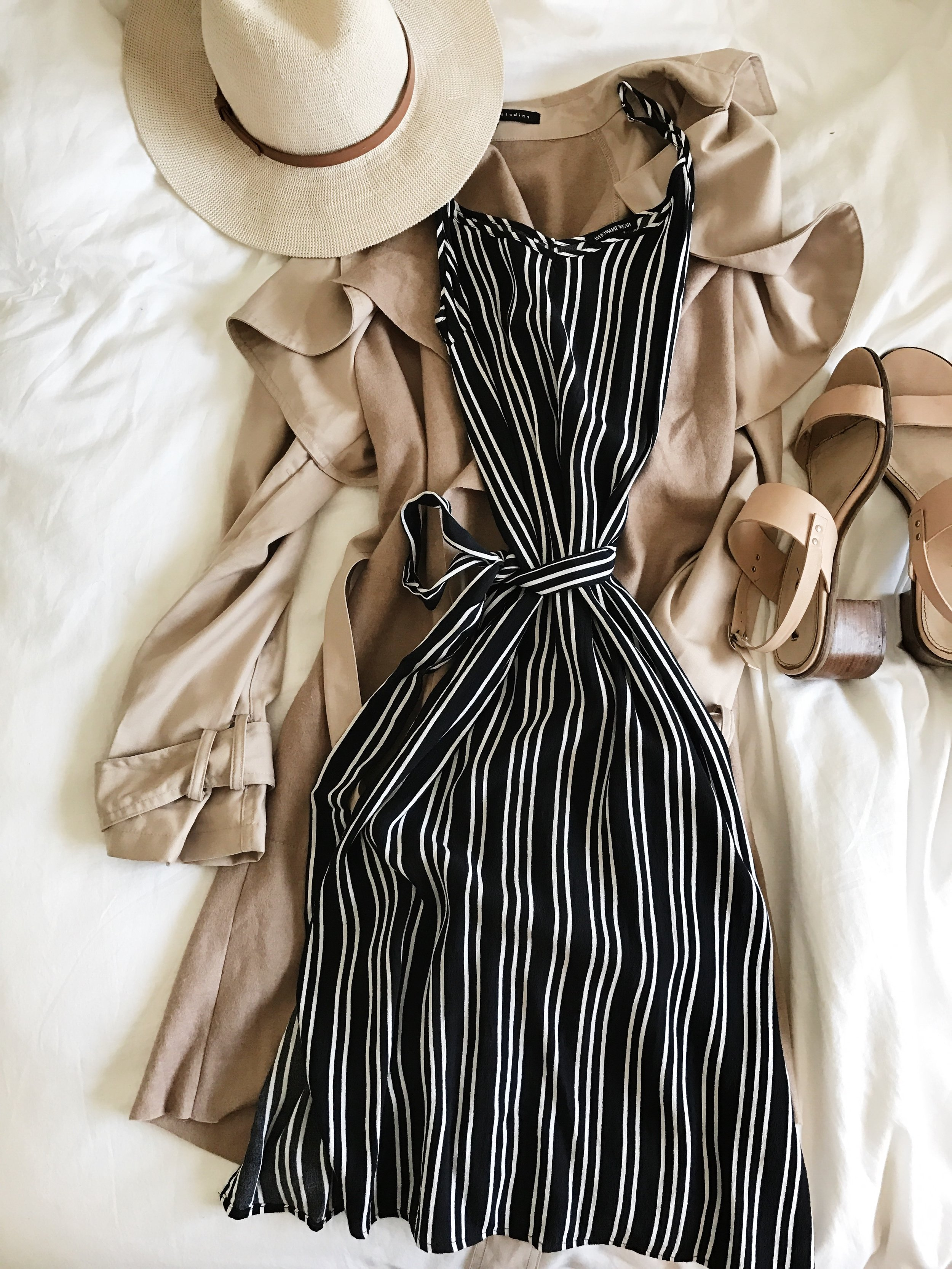 DAY THREE Striped dress // trench // heels A little bit nicer (but still in vacay mode) ensemble for dinner on the Seine and the Arc de Triomphe!