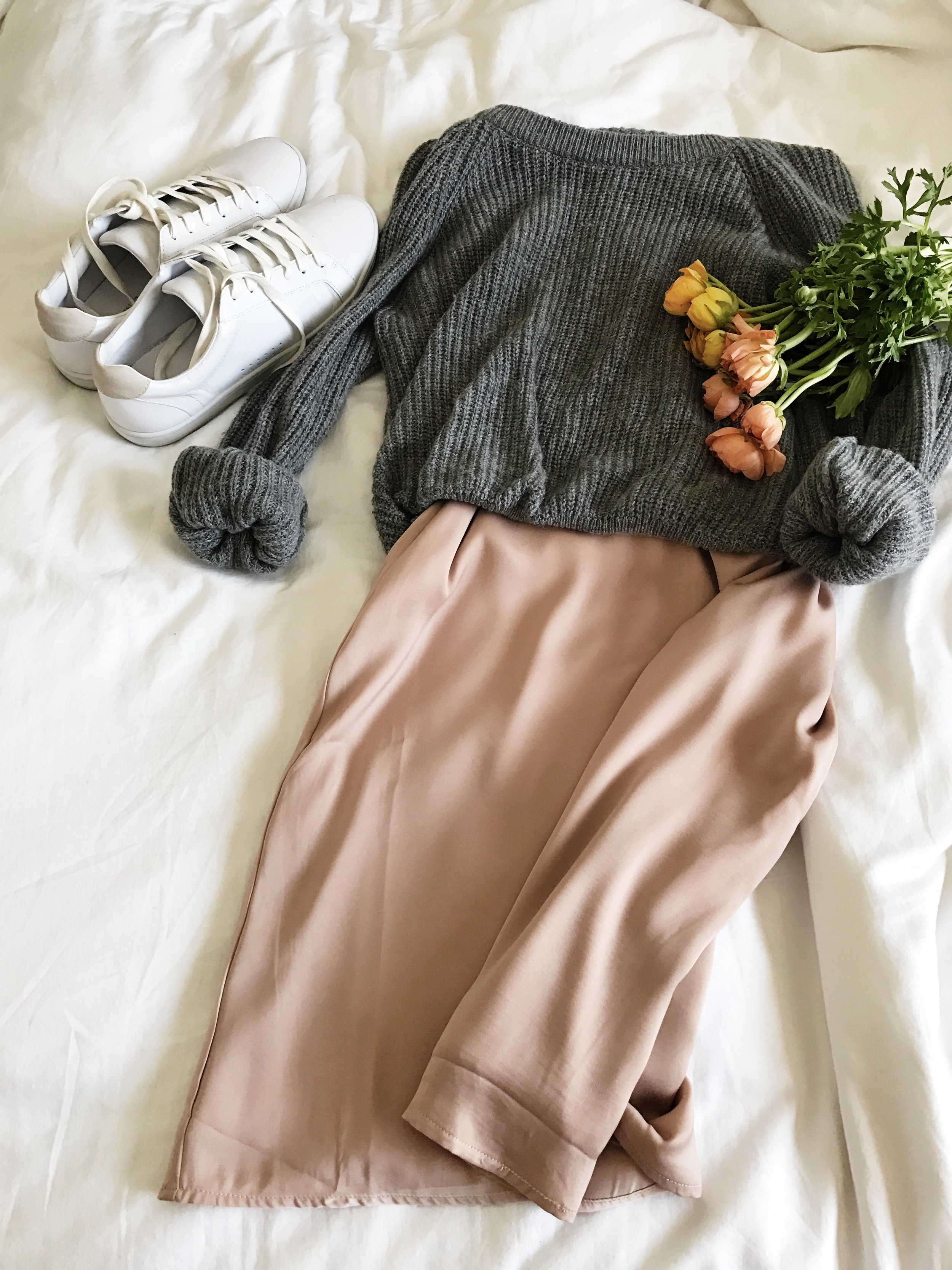 DAY TWO Cozy knit sweater // Silk slip dress A simple outfit for heading to museums, munching on crepes, and picking up peonies!