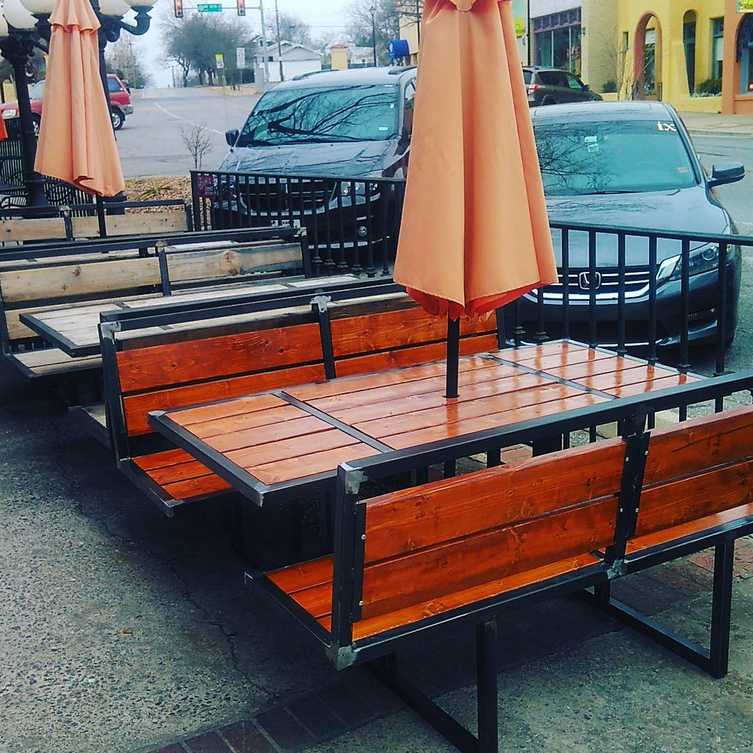Dimensional Lumber and steel benches with Gunstock Stain - See at Picasso Cafe!