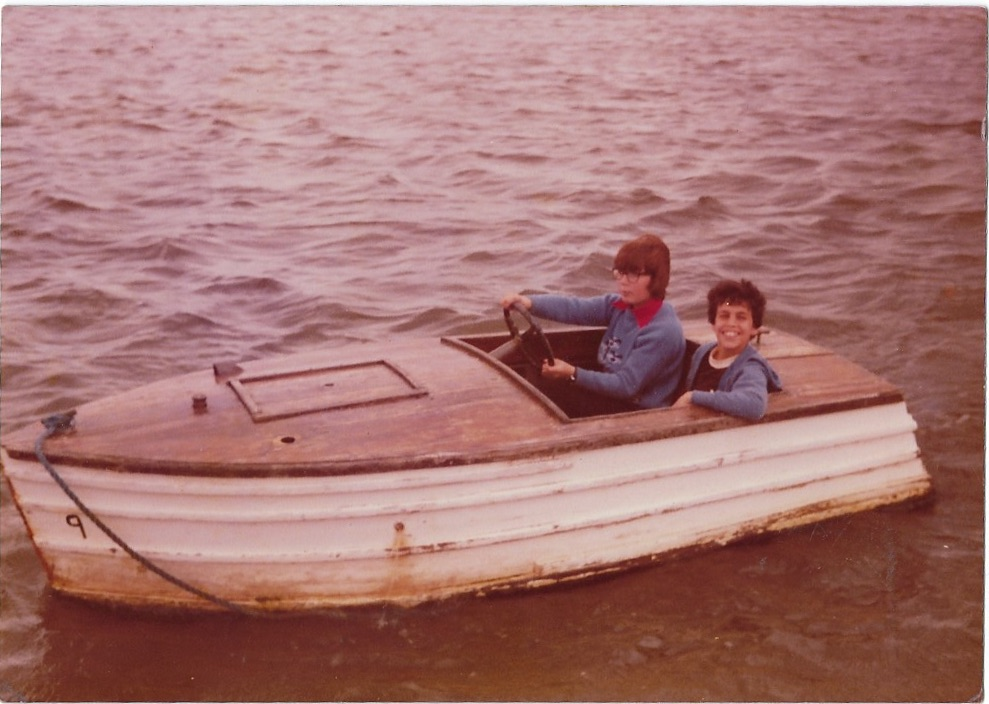 Captain Andrew Seligman with his cousin on the River Dee, Chester, England, 1979