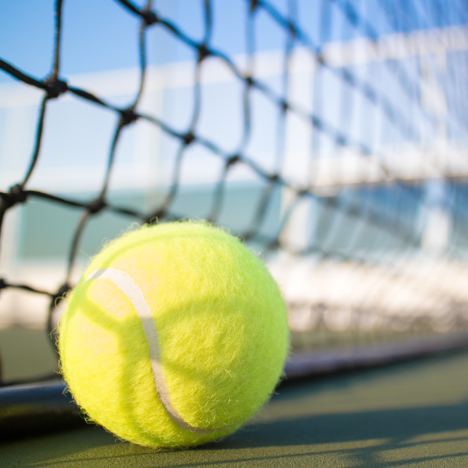 Close-up of yellow tennis ball laying next to bottom of net