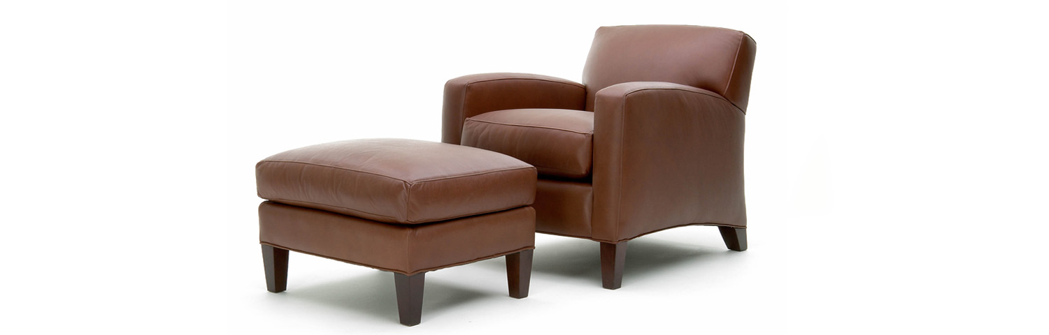 Plush easy chair and ottoman
