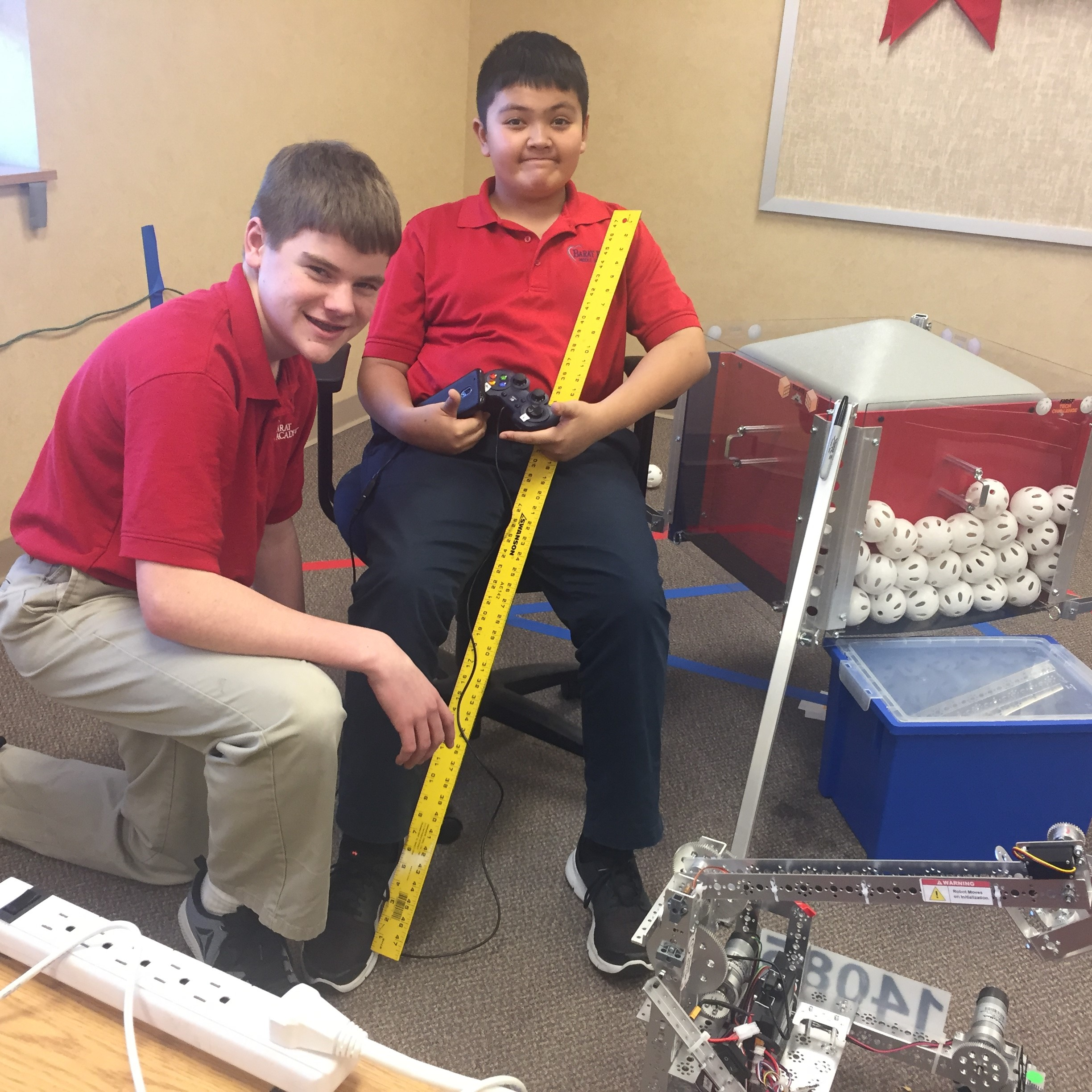 Adam and Shane put some last minute touches on this year's robot. Thirty-six teams to compete. -