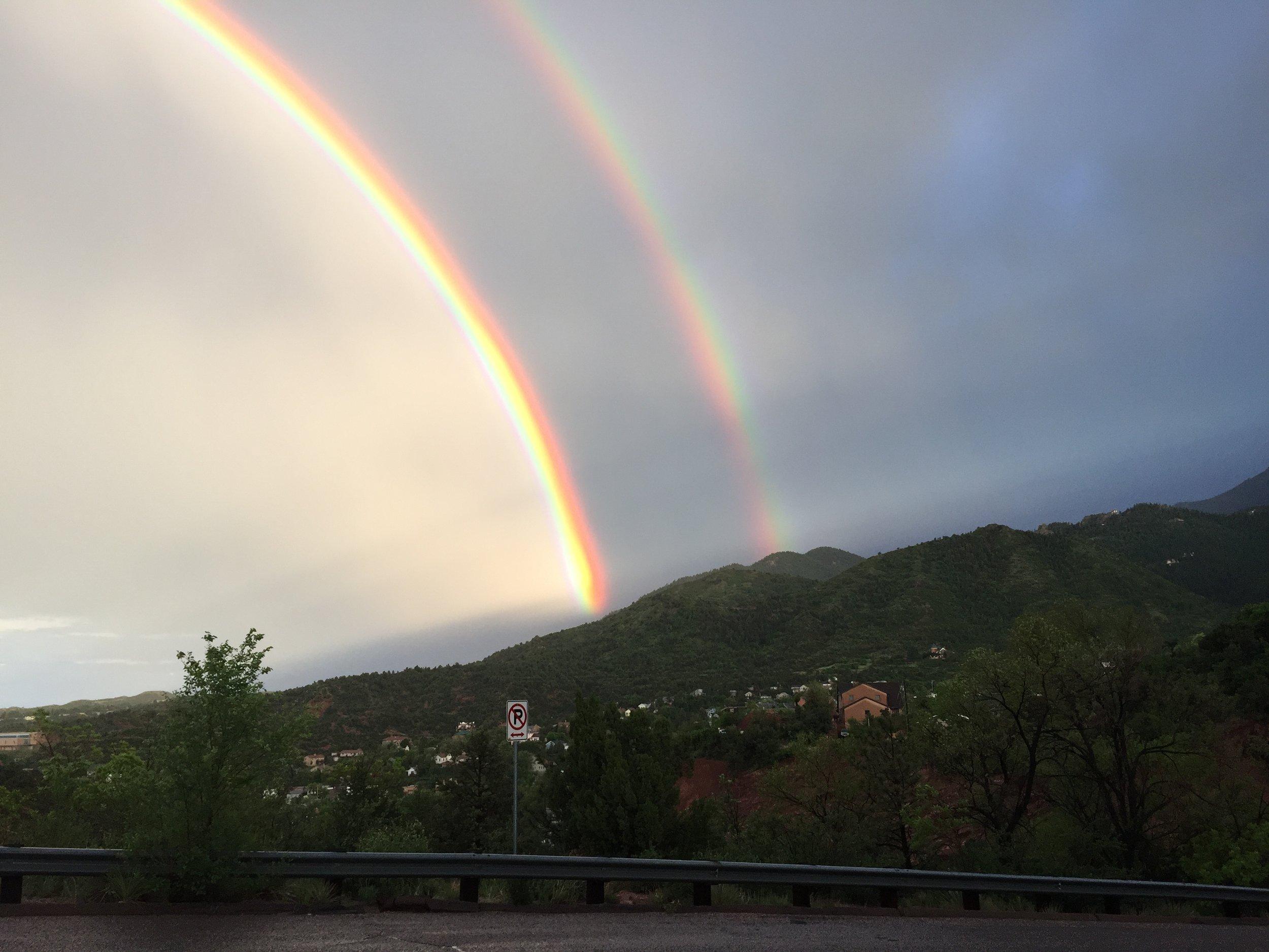Rainbows over Manitou Springs, taken by Ken