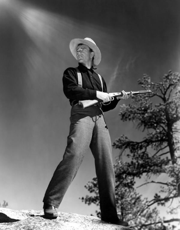 El actor John Wayne en  The Shepherd of the Hills (1941)