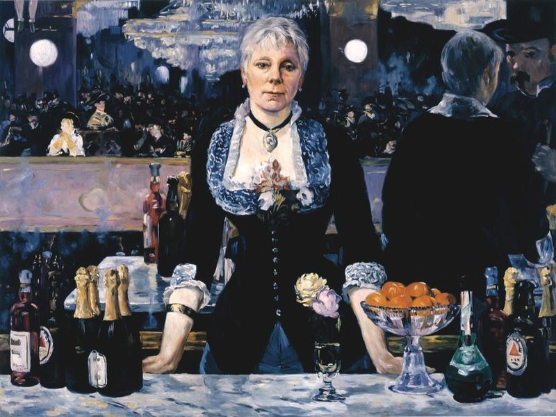Linda Nochlin in Manet's Bar at the Folies-Bergère , 2006 - Kathleen Gilje. ( Francis M. Naumann Fine Art, New York) vía  Smithsonian Mag