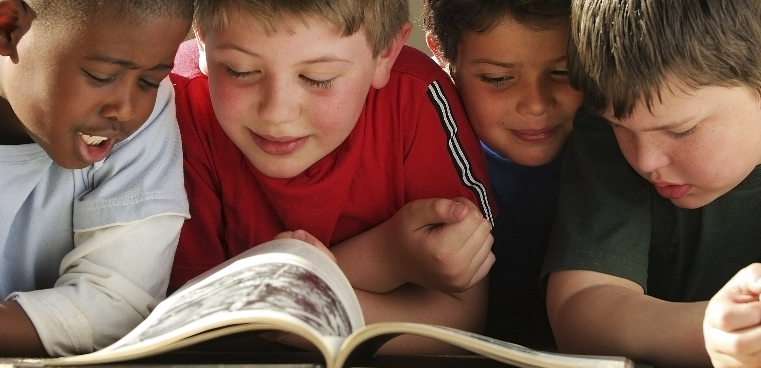 Boys reading together
