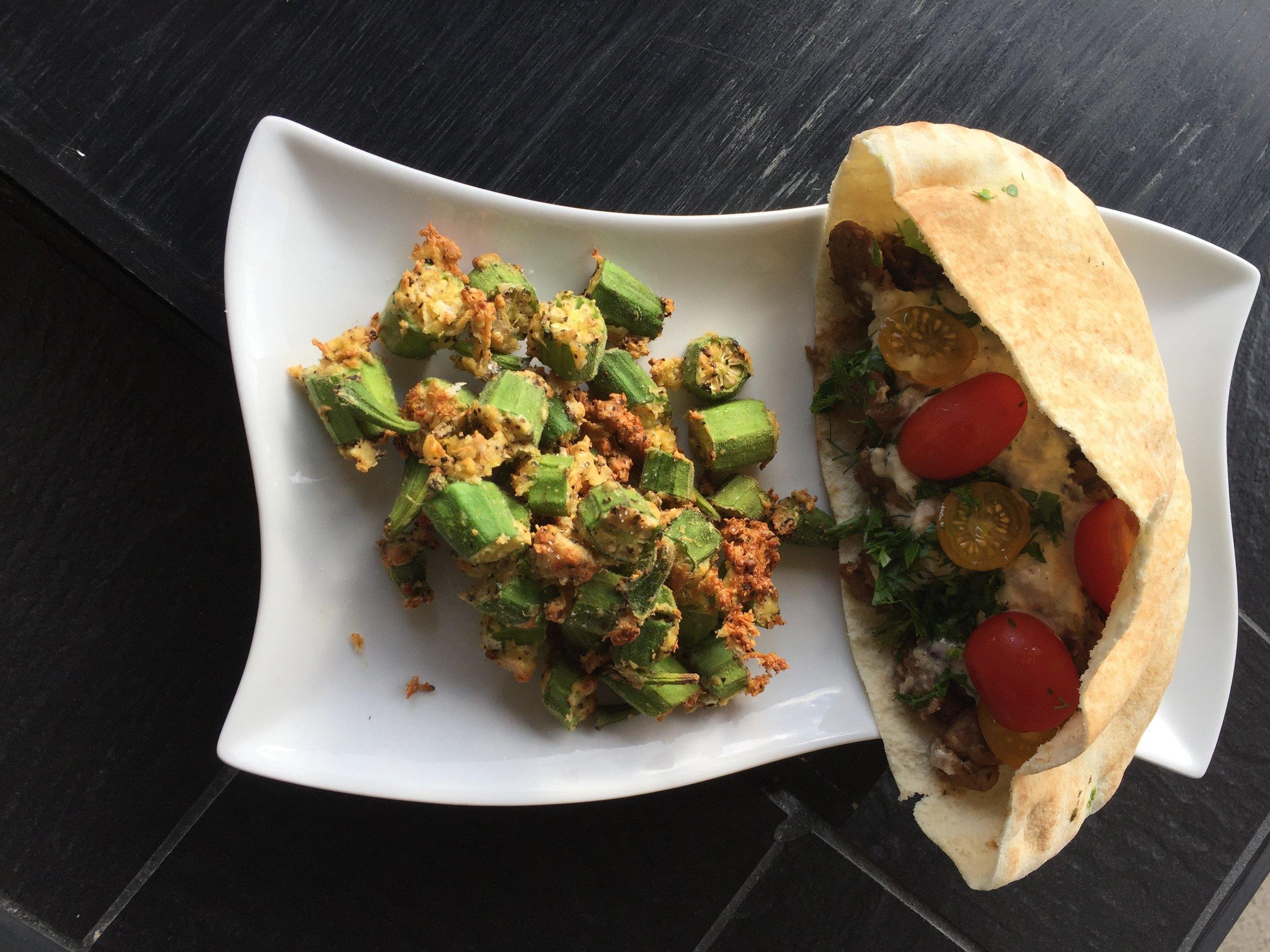 Air Fried Okra and Vegan Gyros