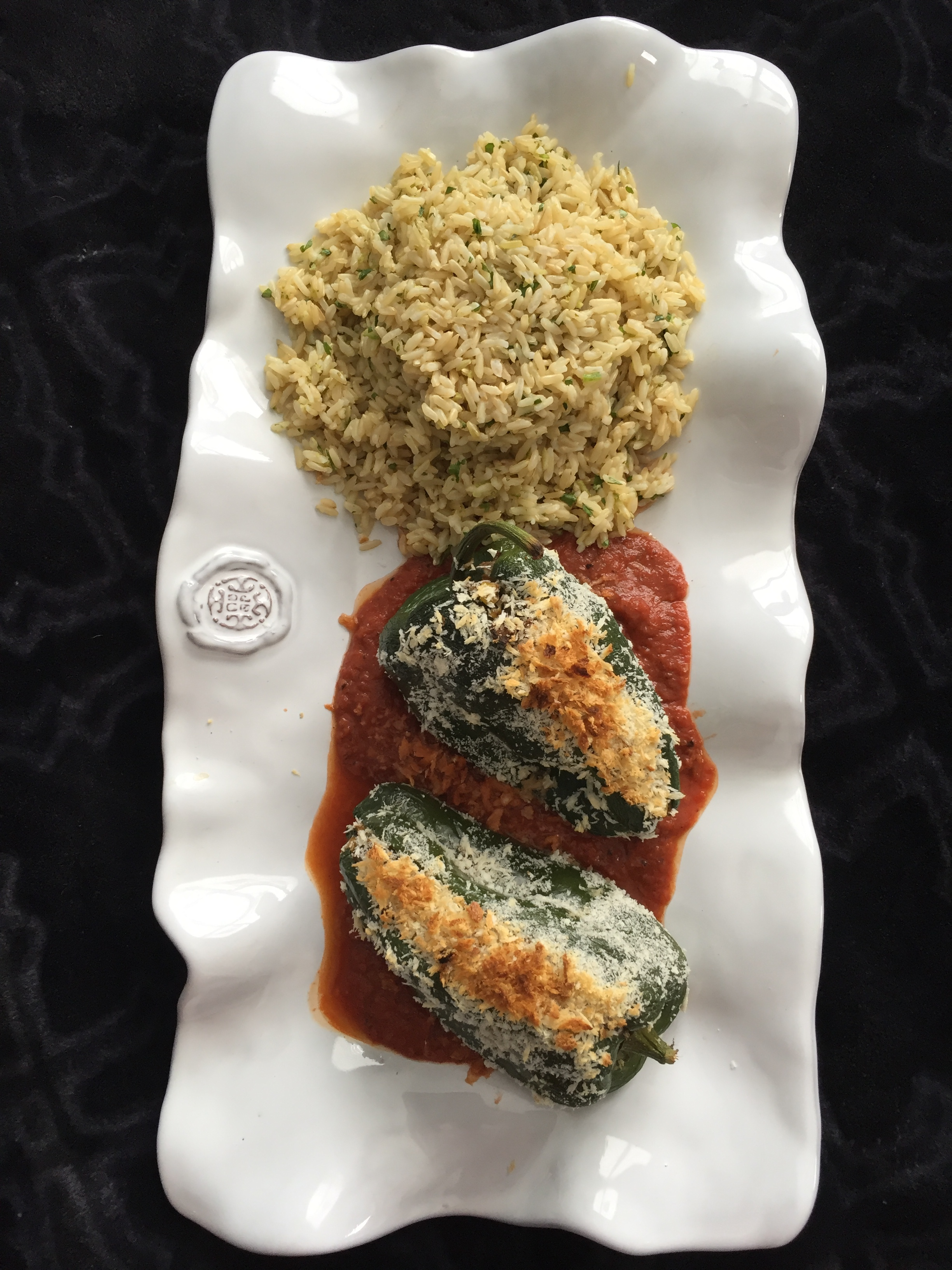 Vegan Stuffed Poblano Peppers with a Smoky Tomato Sauce and Cilantro Lime Brown Rice