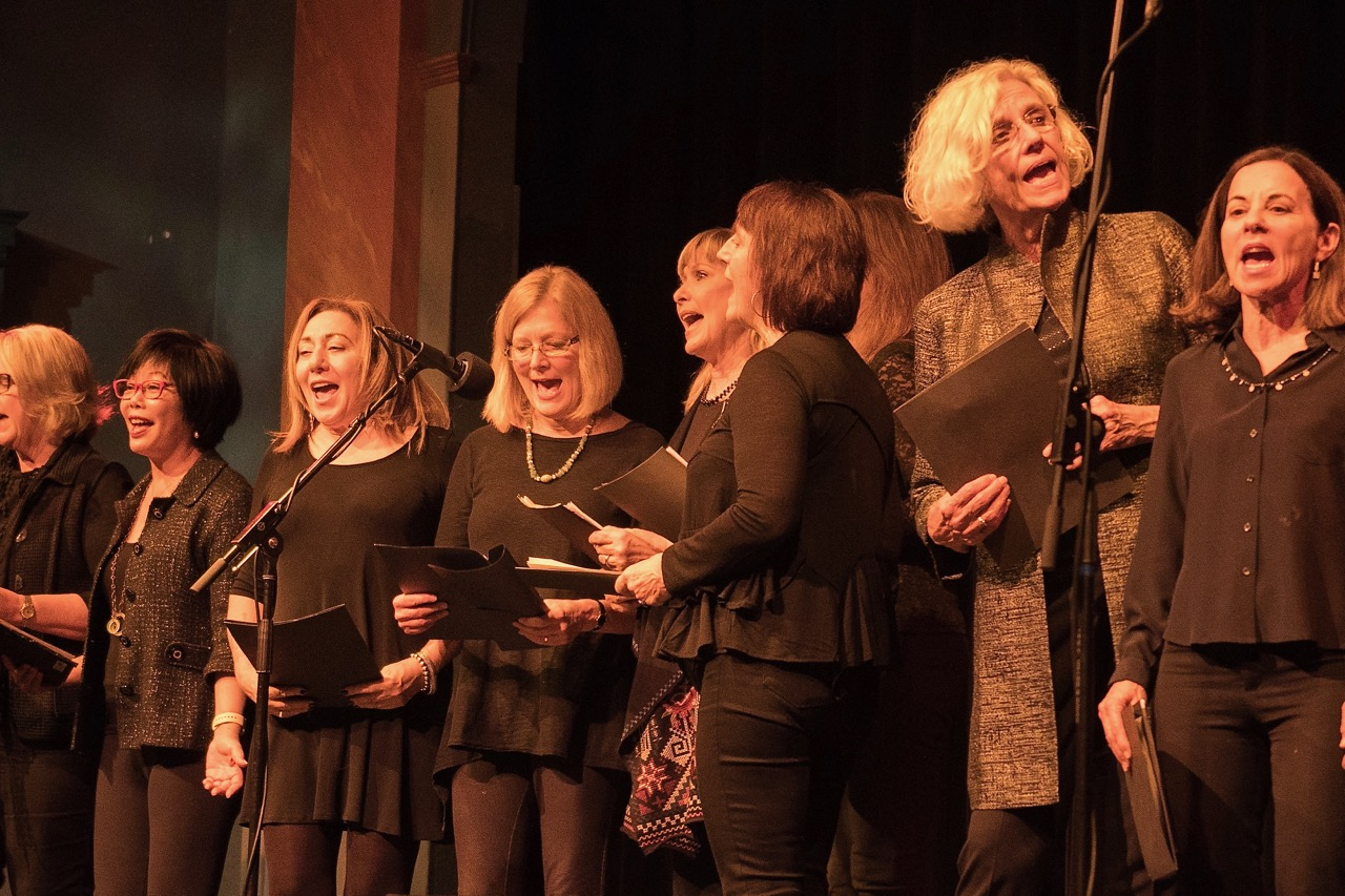 The Shady Ladies sing their hearts out for democracy, led by director Reed Fromer. Photo by Martha Ture.