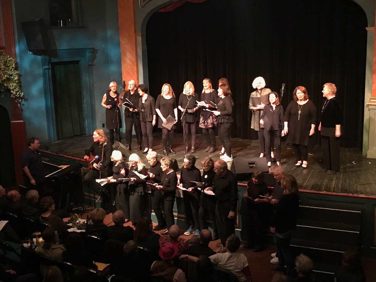 Music director Reed Fromer leads a sing-along of classic protest tunes with the Shady Ladies and the Can-Do Singers. Photo by George Osner.
