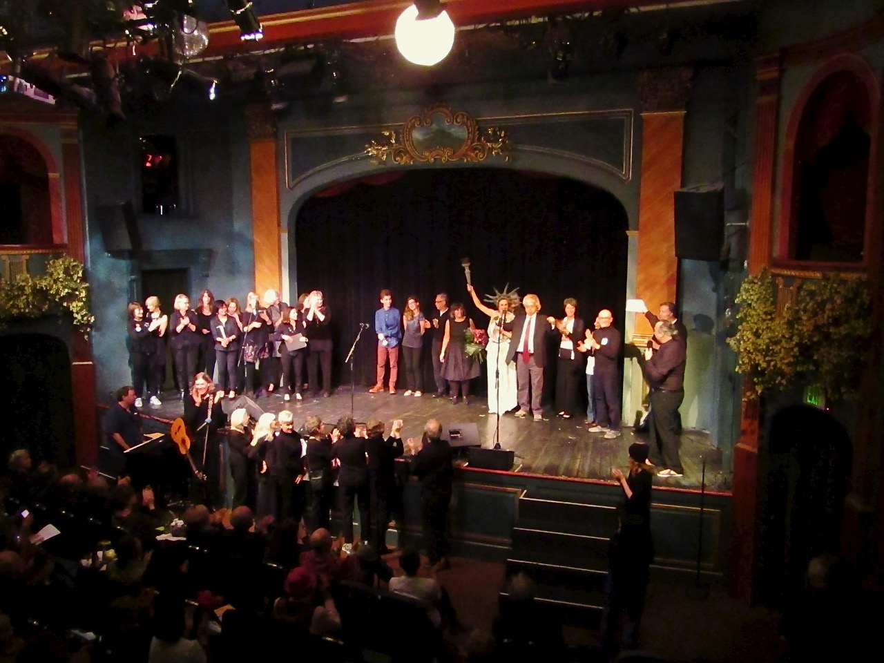 Activists, cast and crew gather for a final curtain call at the MVCAN-Do-Revue. Photo by George Osner.