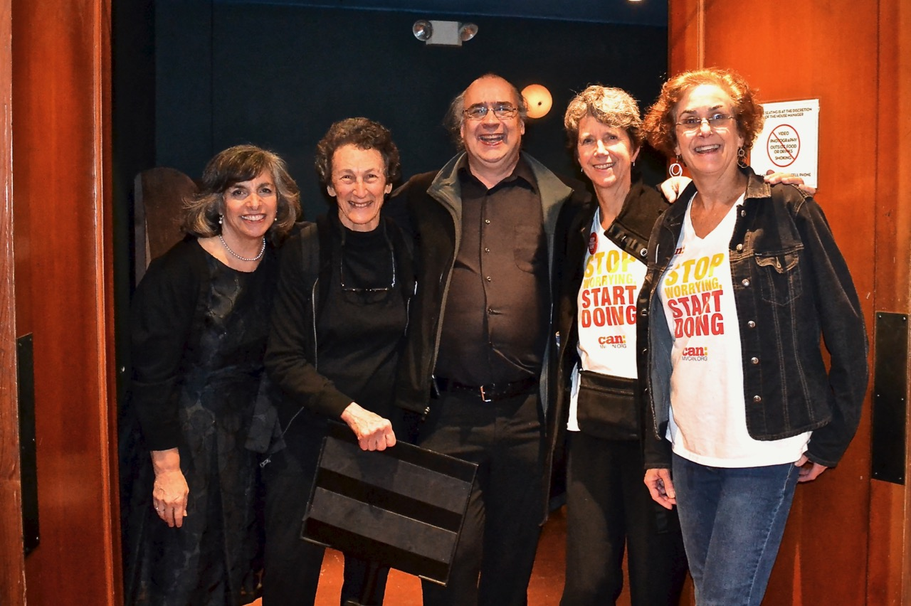 A group photo of the event team leads for the MVCAN-Do-Revue: Suz Lipman,  Marilyn Price,  Fabrice Florin,   Mary Cosgrove and   June Cooperman (from left to right). Missing in action: Danny Altman and Carol   Korenbrot.  . Photo by Ed Ellsworth.