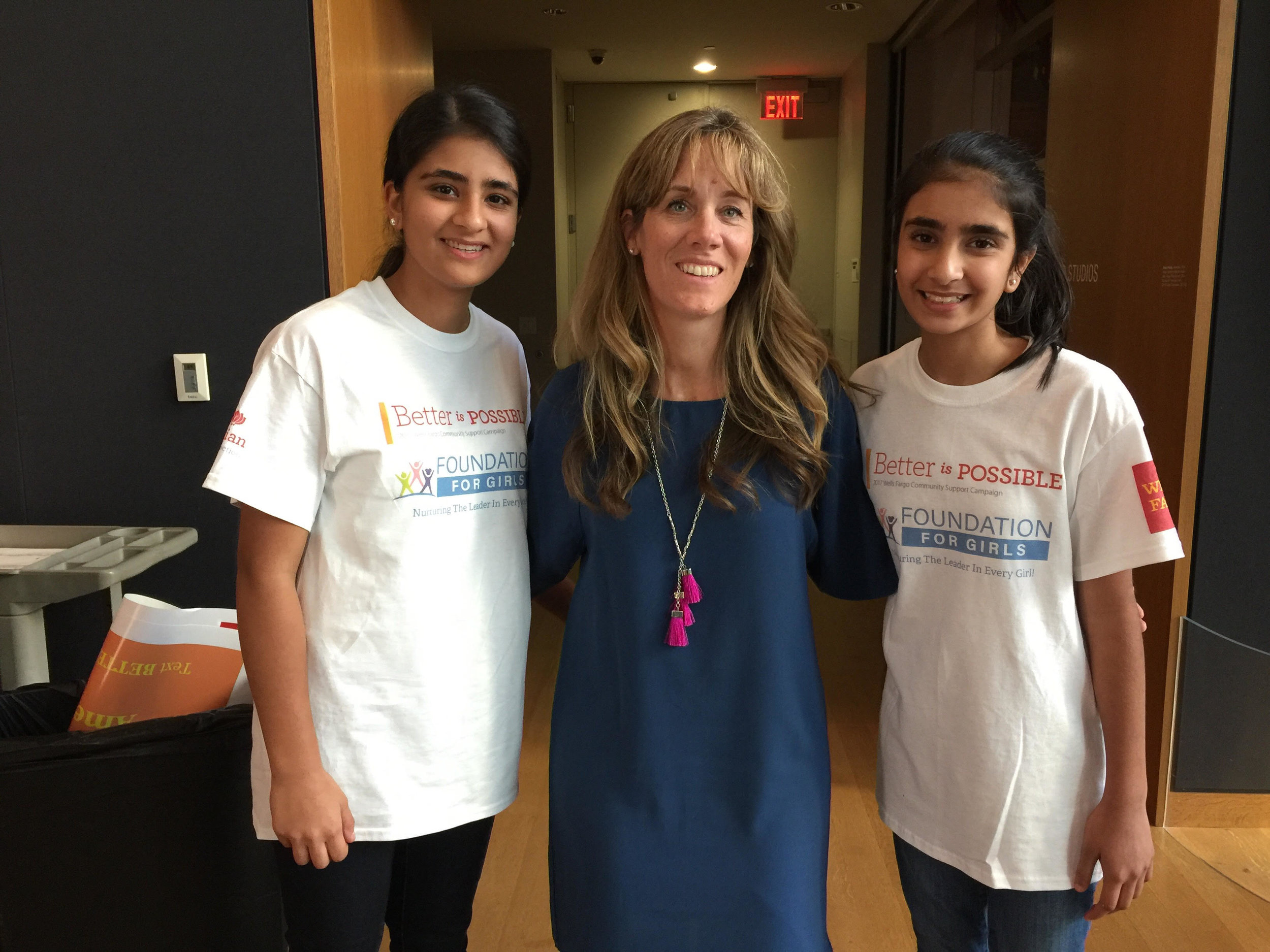 Foundation For Girls Co-Founders Shreya and Sahana Mantha accept the 2017 Better Is Possible sponsorship from Wells Fargo