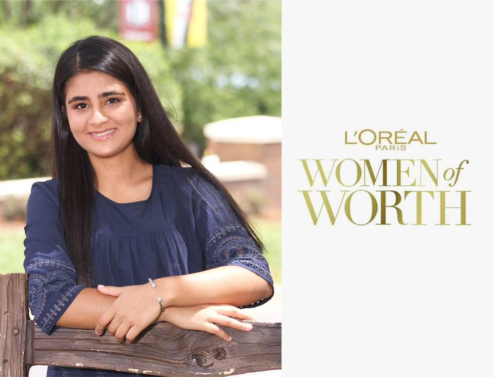 """L'Oreal Paris Women of Worth - November 2018The L'Oreal Paris Women of Worth Award honors extraordinary women who selflessly volunteer their time to serve their communities. The signature philanthropic program embodies the L'Oreal Paris belief that """"Every Woman is Worth It"""" by elevating women who find beauty in giving back.Each year, L'Oreal Paris selects 10 women from across the United States as Women of Worth Honorees. Shreya Mantha, Founder, Foundation For Girls is the youngest nominee ever and the first high school student to receive this award.https://www.lorealparisusa.com/women-of-worth.aspx#Shreya-Mantha"""