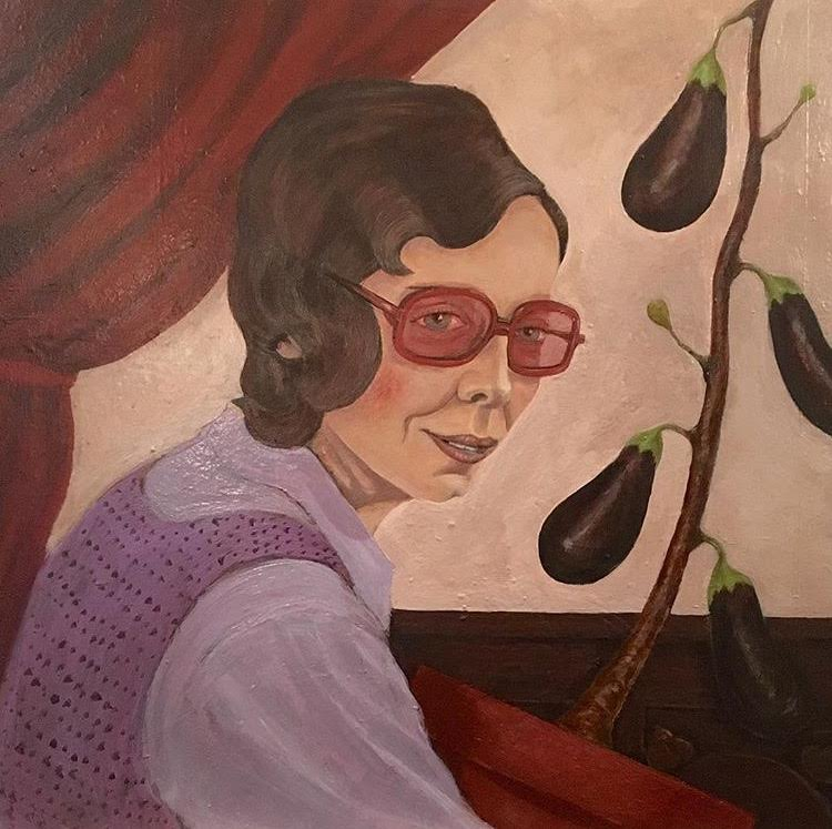 Woman with Eggplant Plant