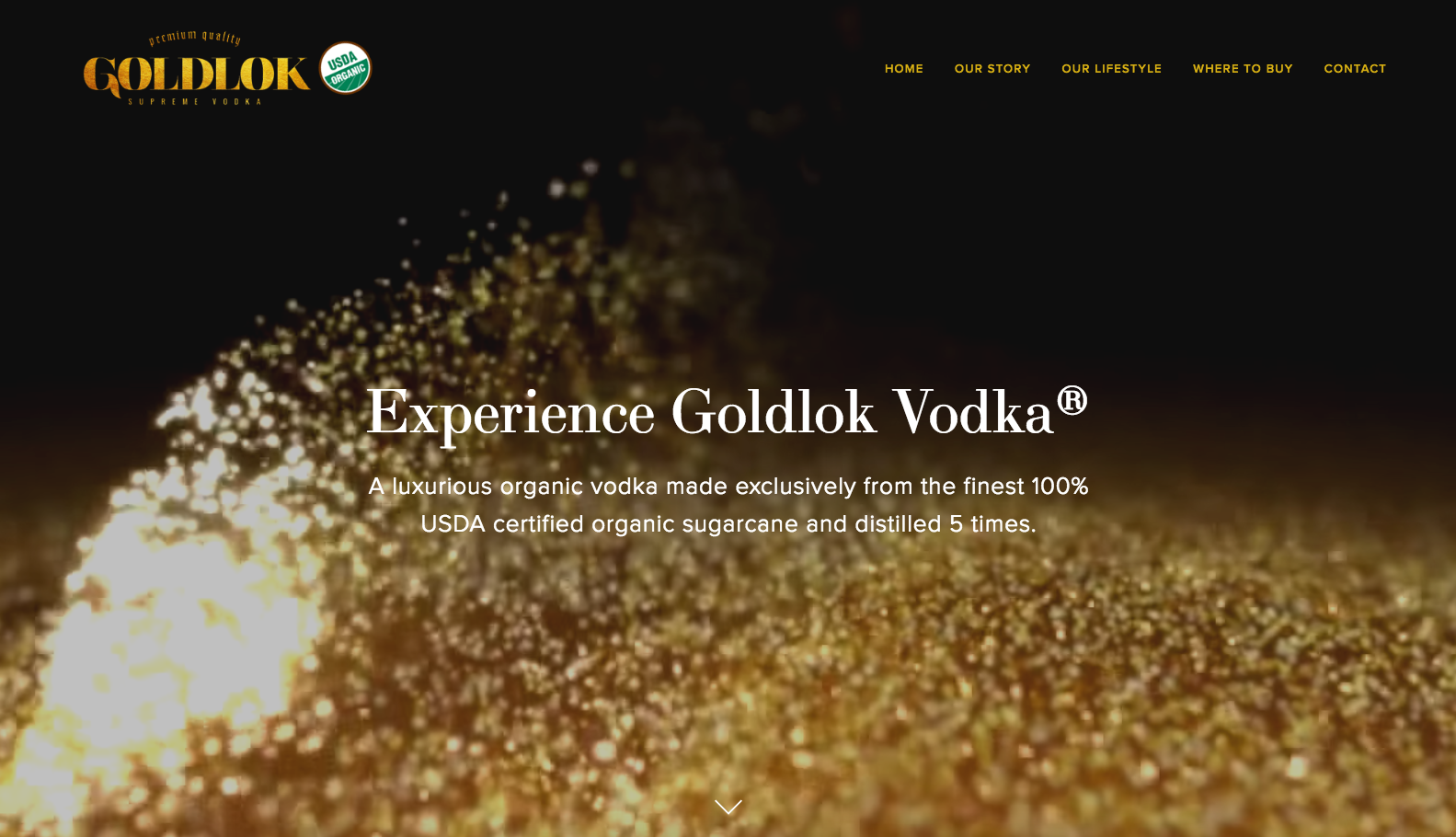 Company website for Goldlok Supreme Vodka featuring parallax scrolling and HD loop background video, geo-locator for visitors to easily find retailers near them or in any city, and merchandise page coming soon.