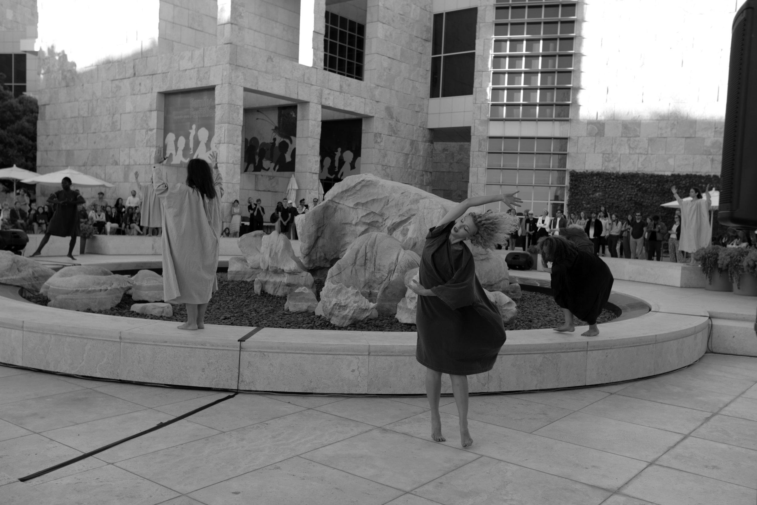 Song of Eurydice at Getty Center July 2016. L-R: (choreographer/Eurydice) mecca vazie andrews, Jiha Lee, Jess Basta, Cortney Alexander, Dai Janai Lopez, Rachel Mason. Costume by 69