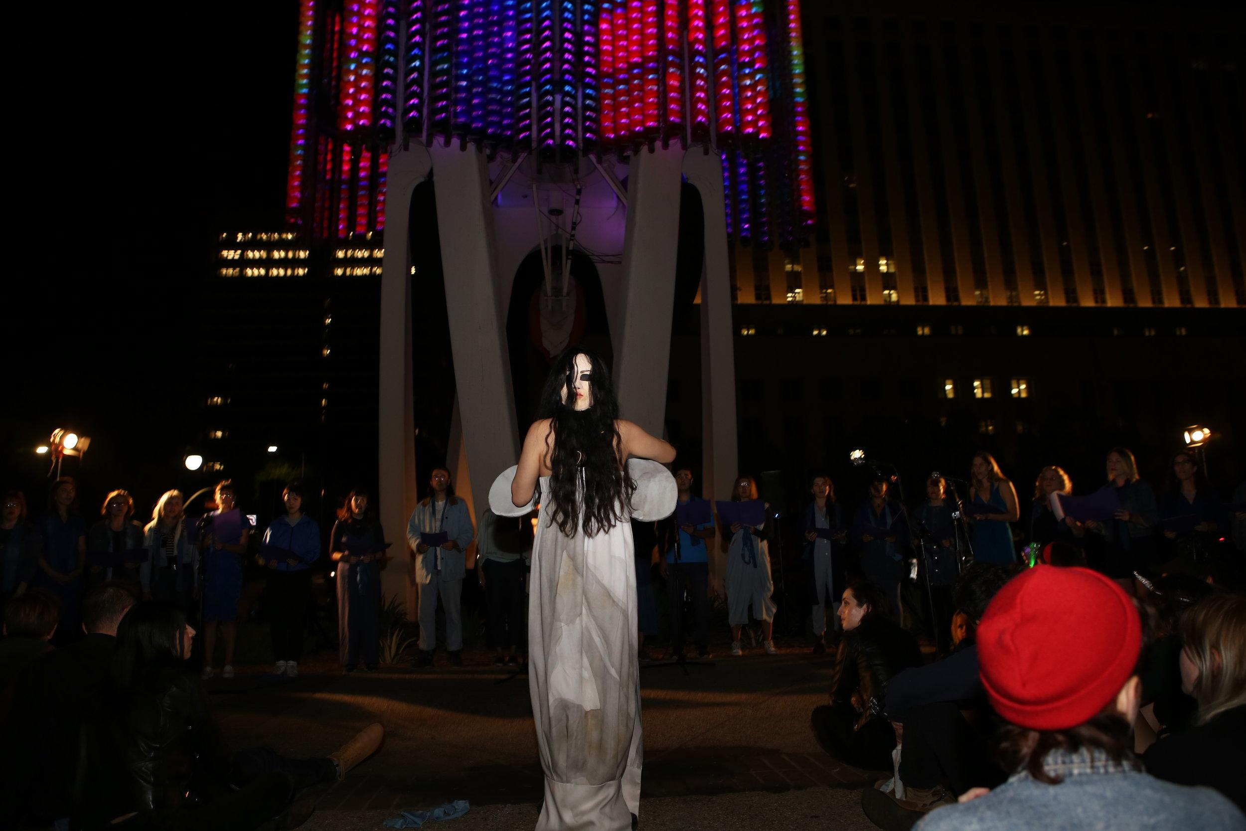 Ritual 4 Democracy at Triforium: Tany Ling conducting Community Chorus. Photo: Steven Andrew Garcia