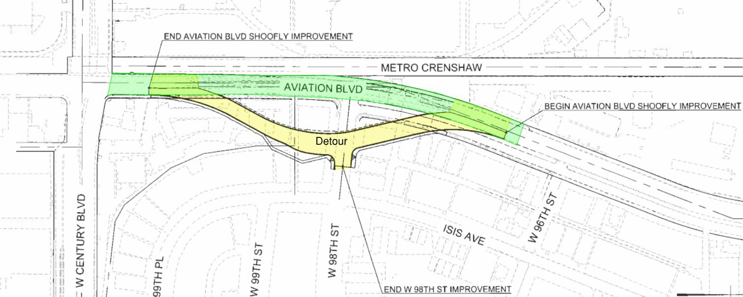 The map above shows the Aviation Boulevard 'shoofly' or detour road, which will allow through traffic between Arbor Vitae Street and Century Boulevard during construction of the 98th Street extension.
